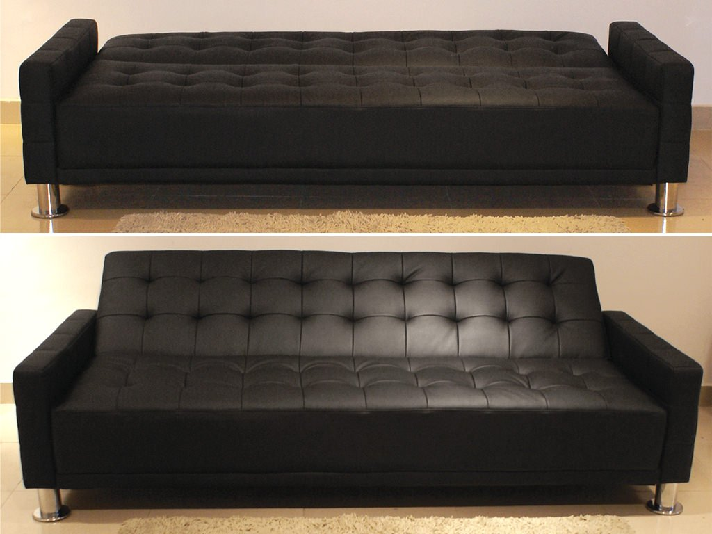 Fina Black Leatherette Sofa Bed By At Home Usa - Fina-leather-sofa-by-athomeusa
