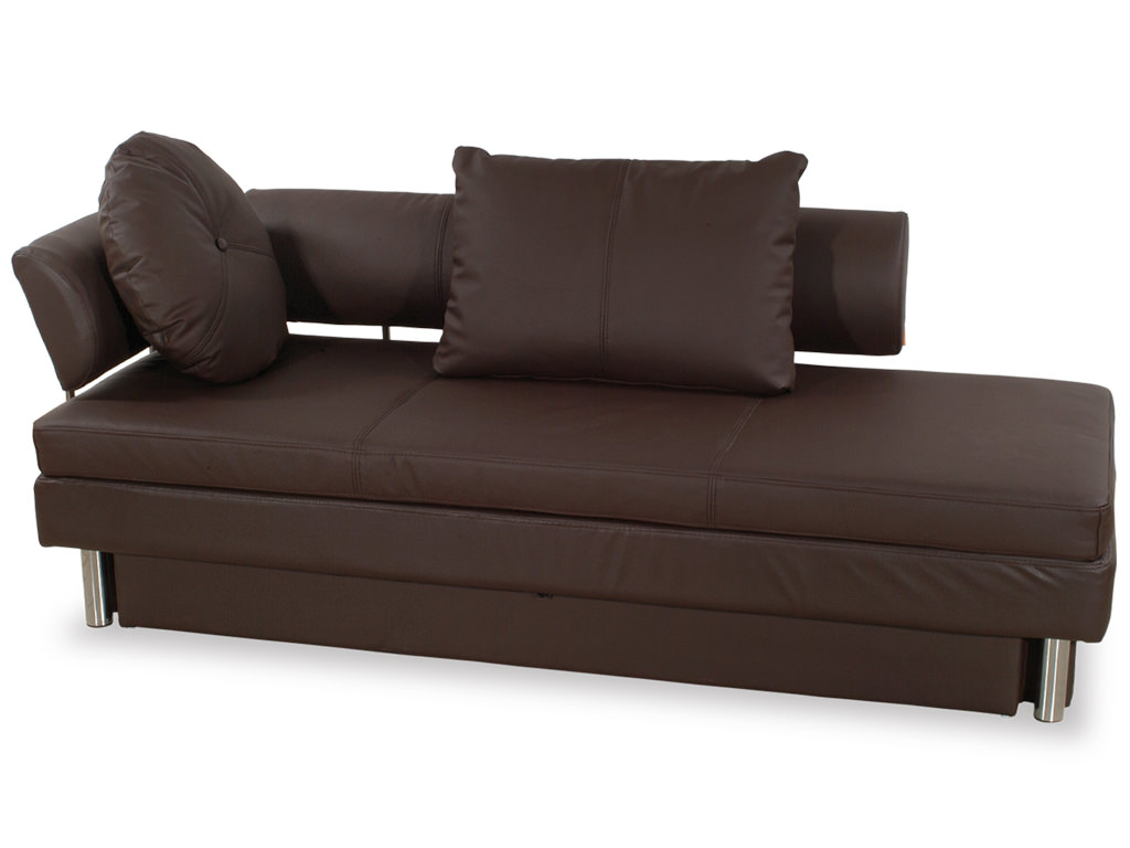 Nubo brown leatherette queen size sofa bed by at home usa for Sofa bed queen size
