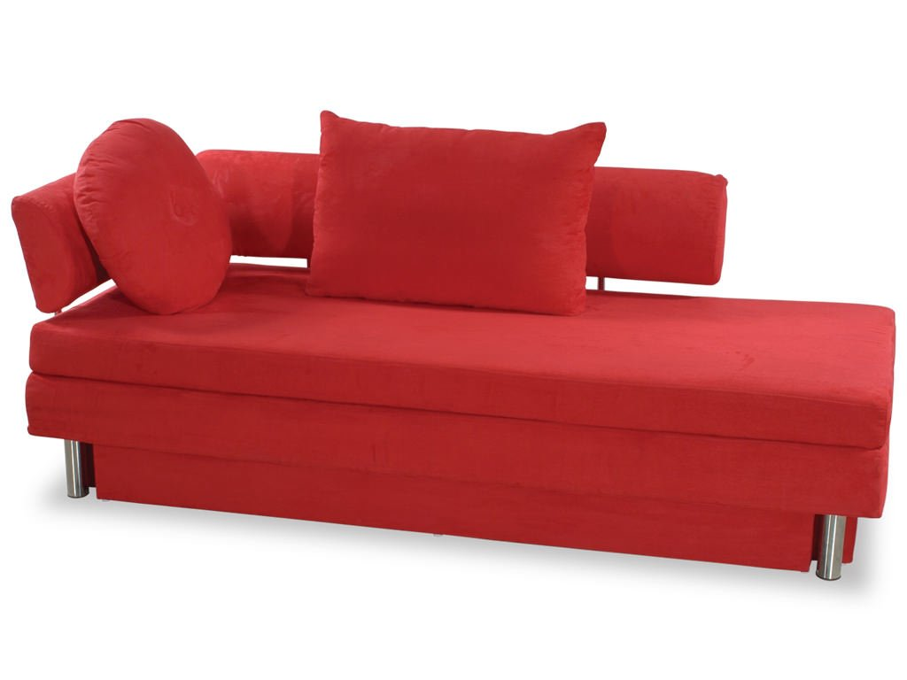 nubo red microfiber queen size sofa bed by at home usa. Black Bedroom Furniture Sets. Home Design Ideas