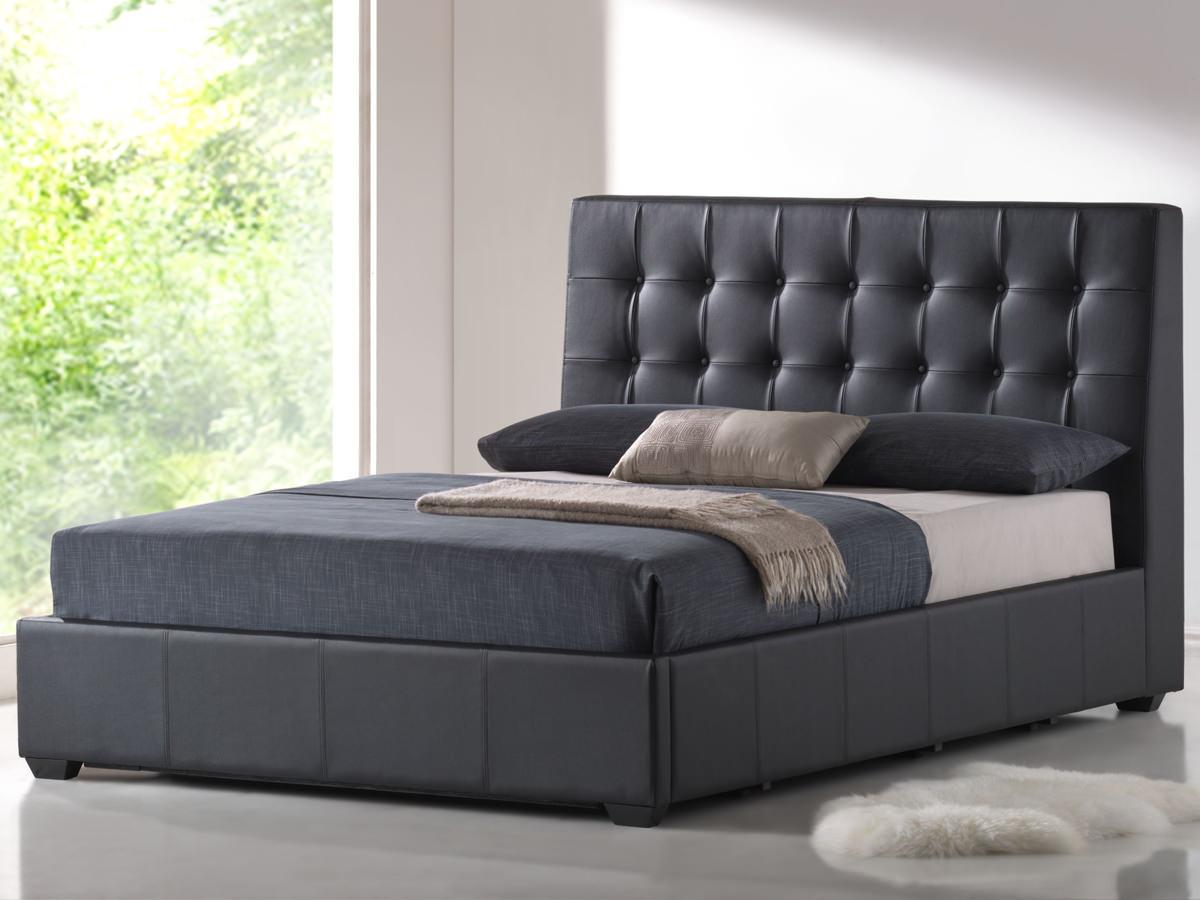 Athens Black Bonded Leather Platform Bed 1200 x 900