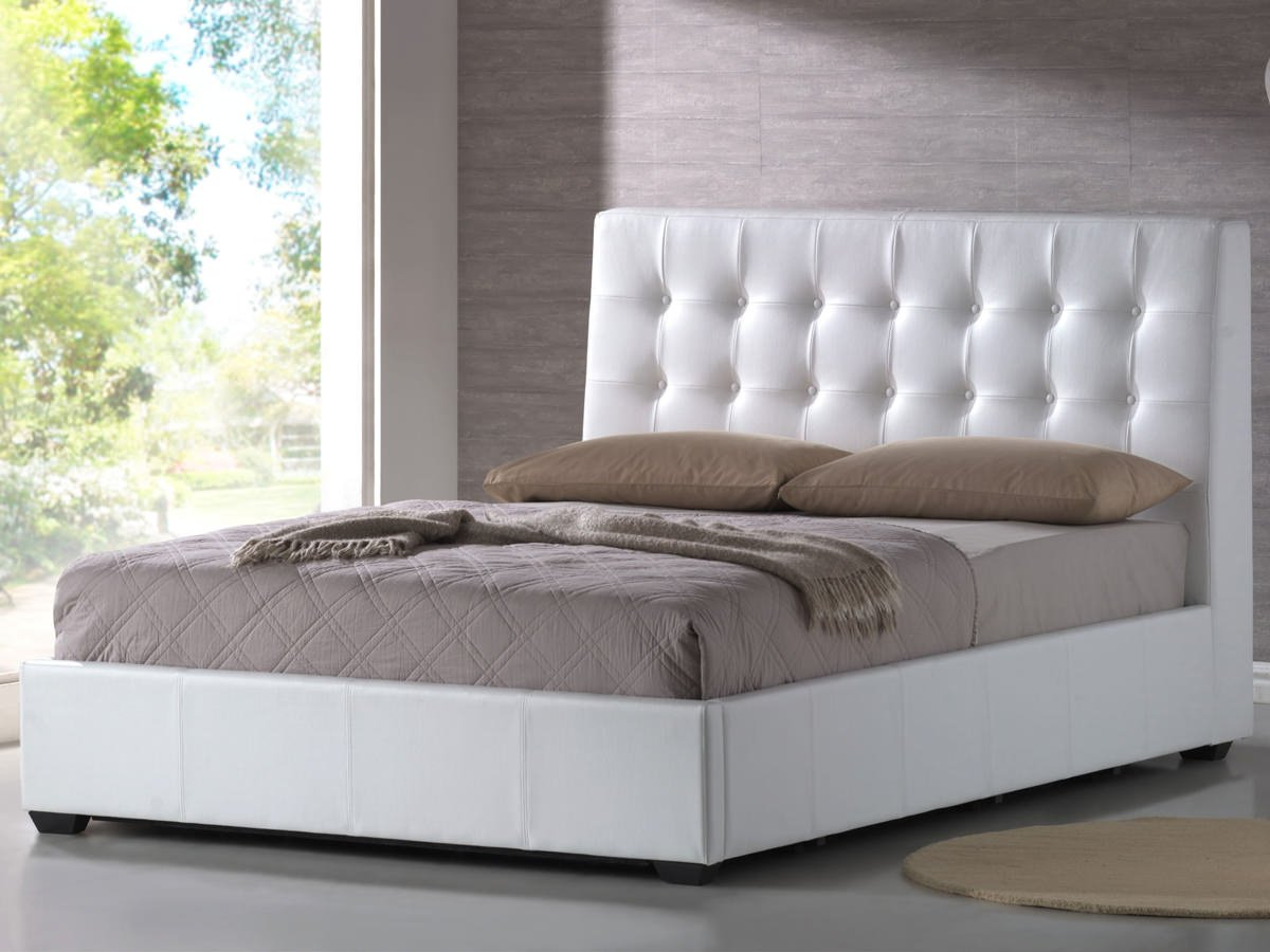 Athens White Bonded Leather Platform Bed