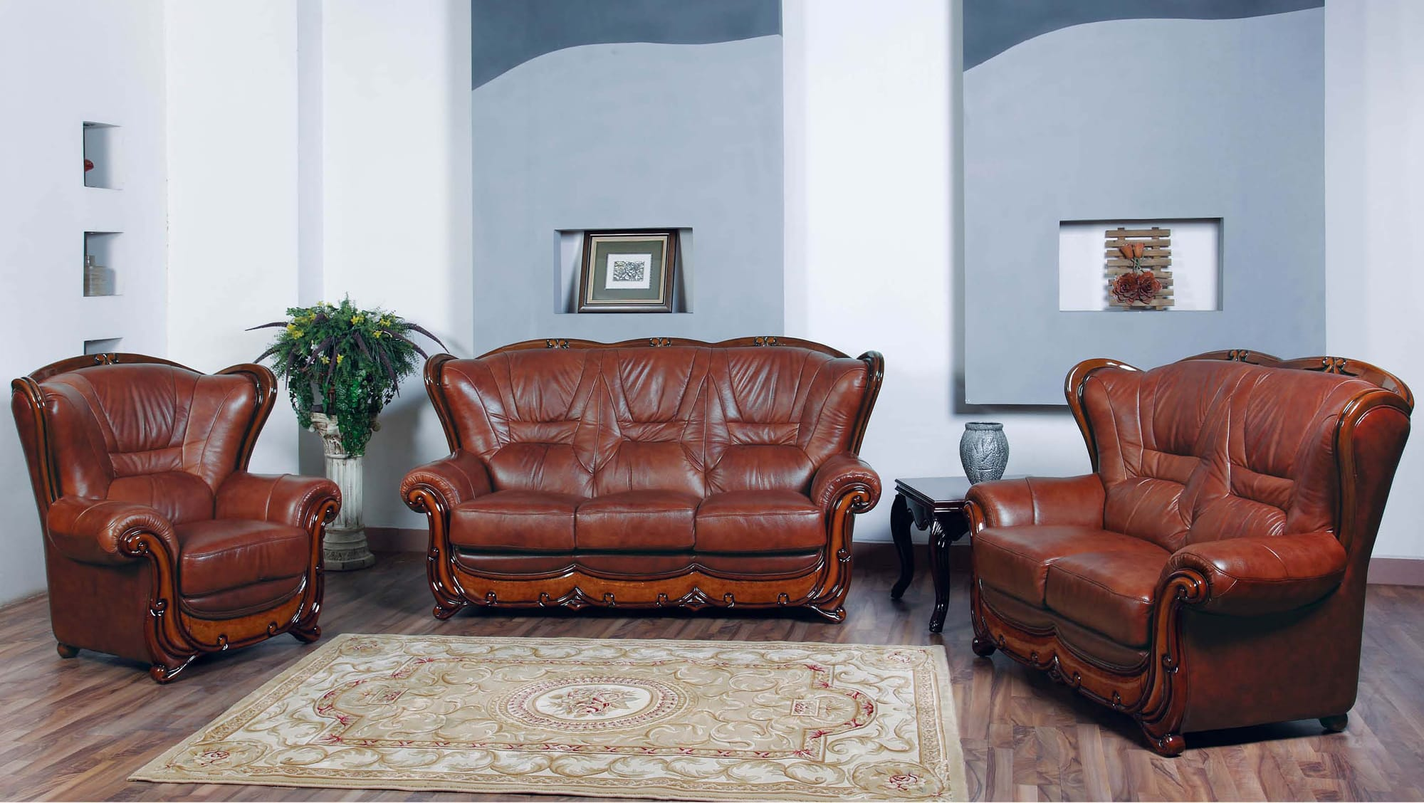 100 Leather Sofa Set by ESF