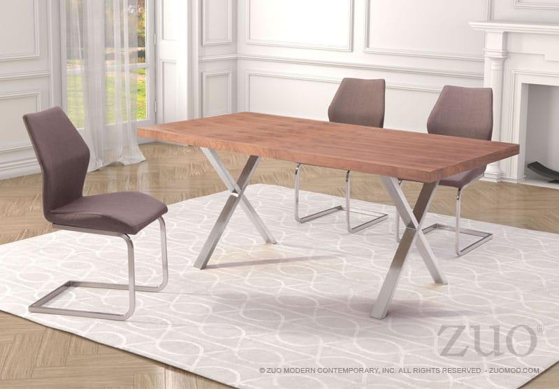 Renmen Dining Table Walnut By Zuo Modern