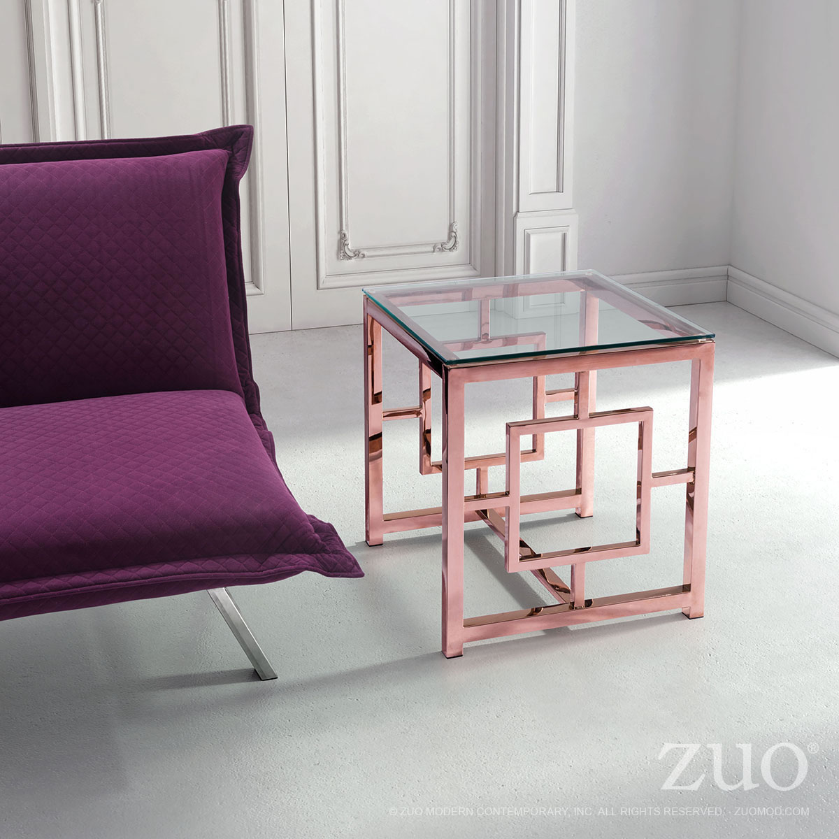 Geranium Side Table Rose Gold By Zuo Modern