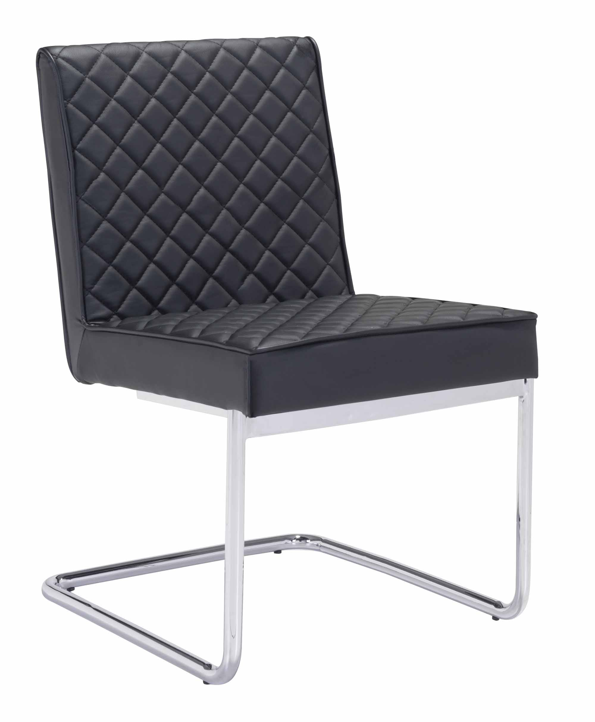 Quilt Armless Dining Chair Black by Zuo Modern : 100187 1 from futonland.com size 2000 x 2426 jpeg 172kB