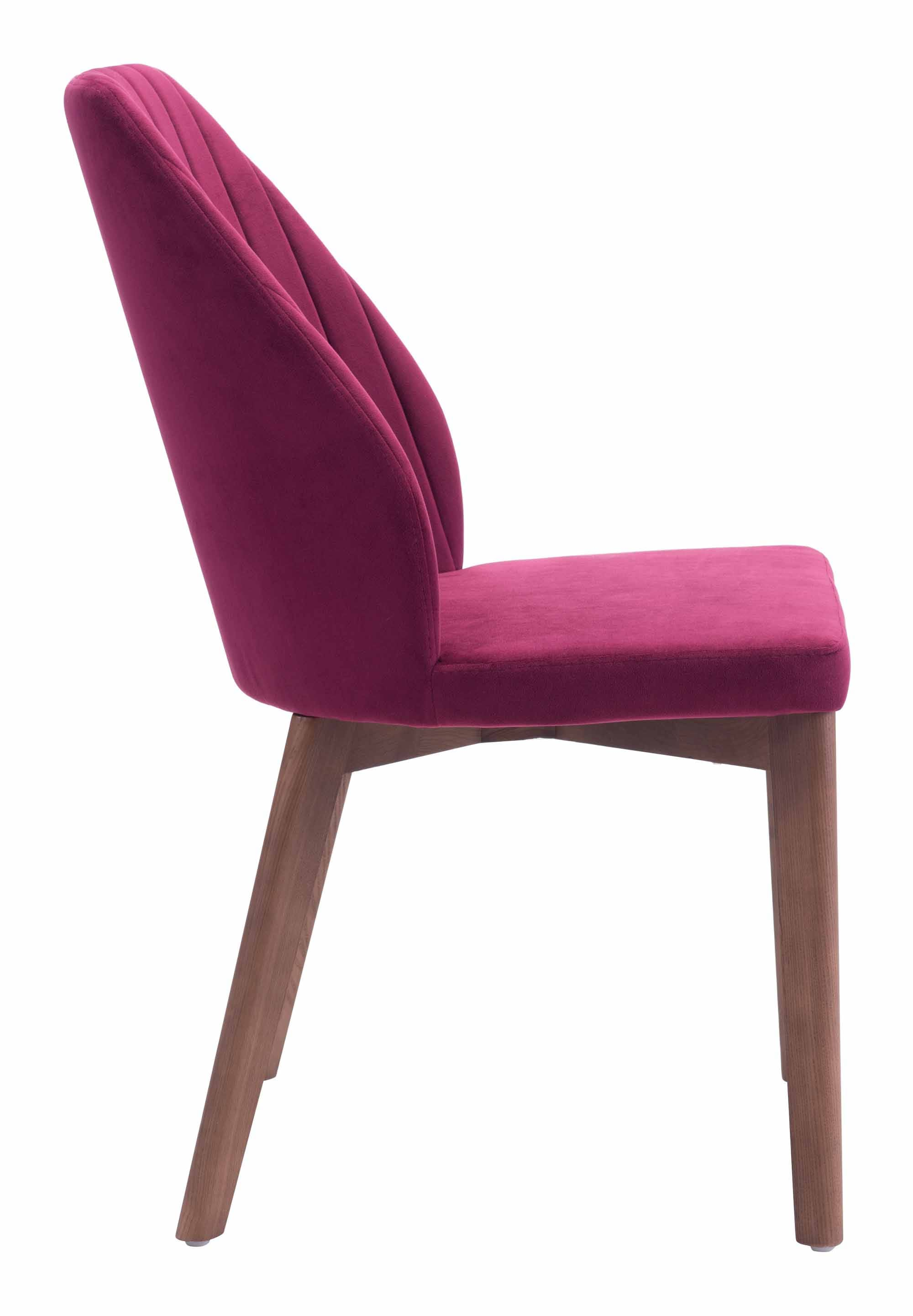 Vaz dining chair red velvet set of 2 by zuo modern for Red modern dining chairs