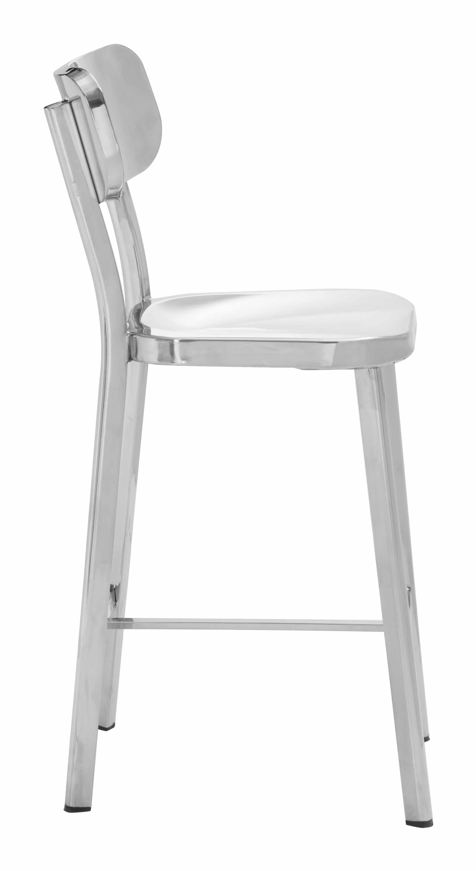Winter Counter Chair Stainless Steel Set Of 2 By Zuo Modern
