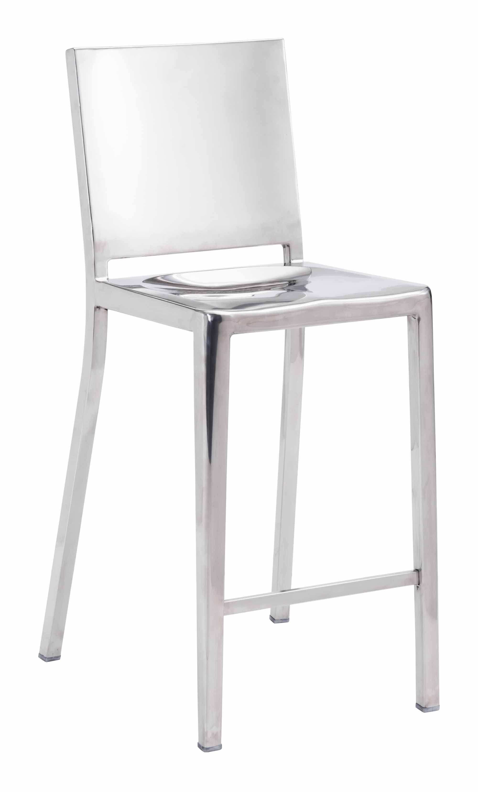 Fall Counter Chair Stainless Steel Set Of 2 By Zuo Modern