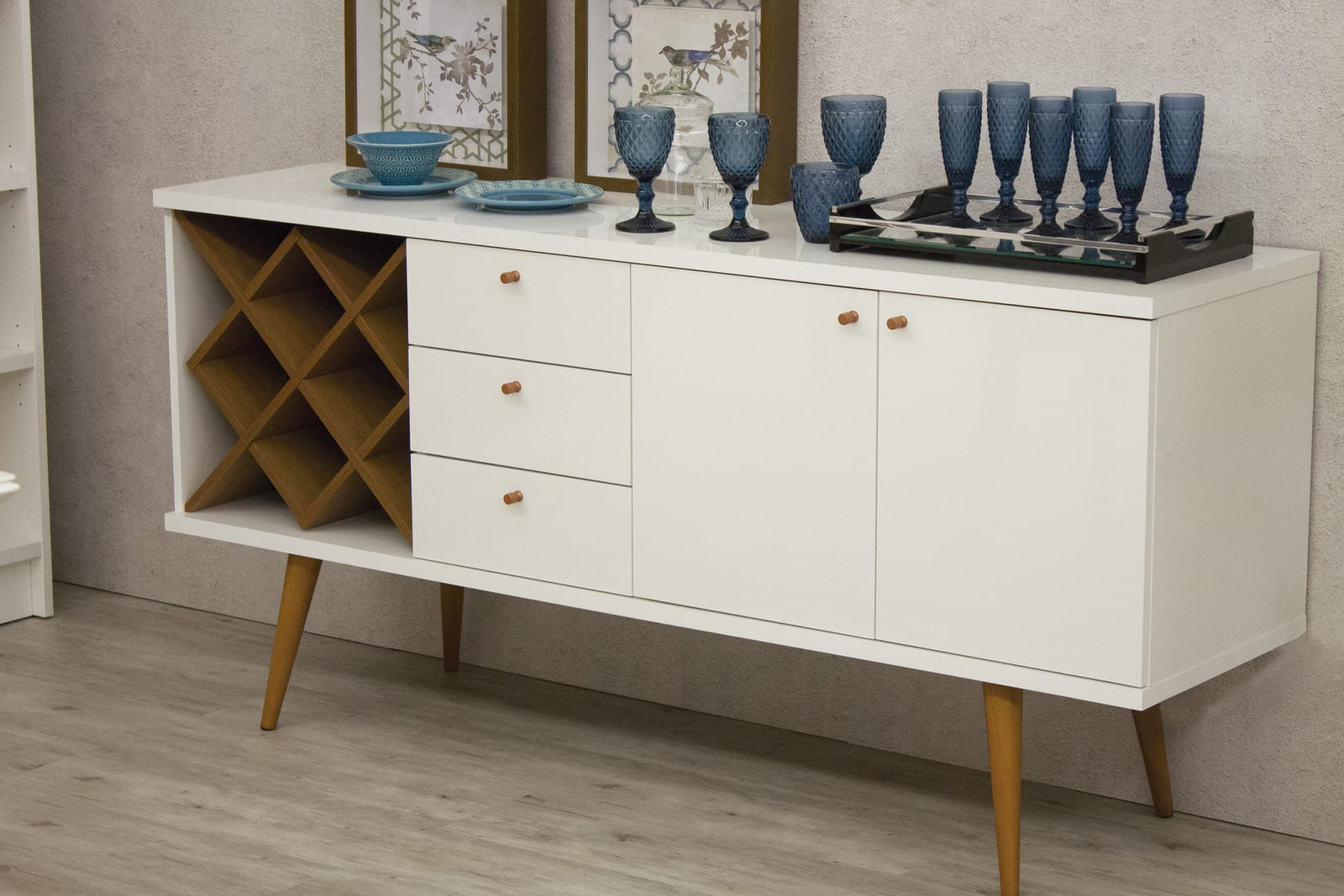 Utopia Off White Maple Cream 4 Bottle Wine Rack Sideboard Buffet Stand W 3 Drawers And 2 Shelves By Manhattan Comfort