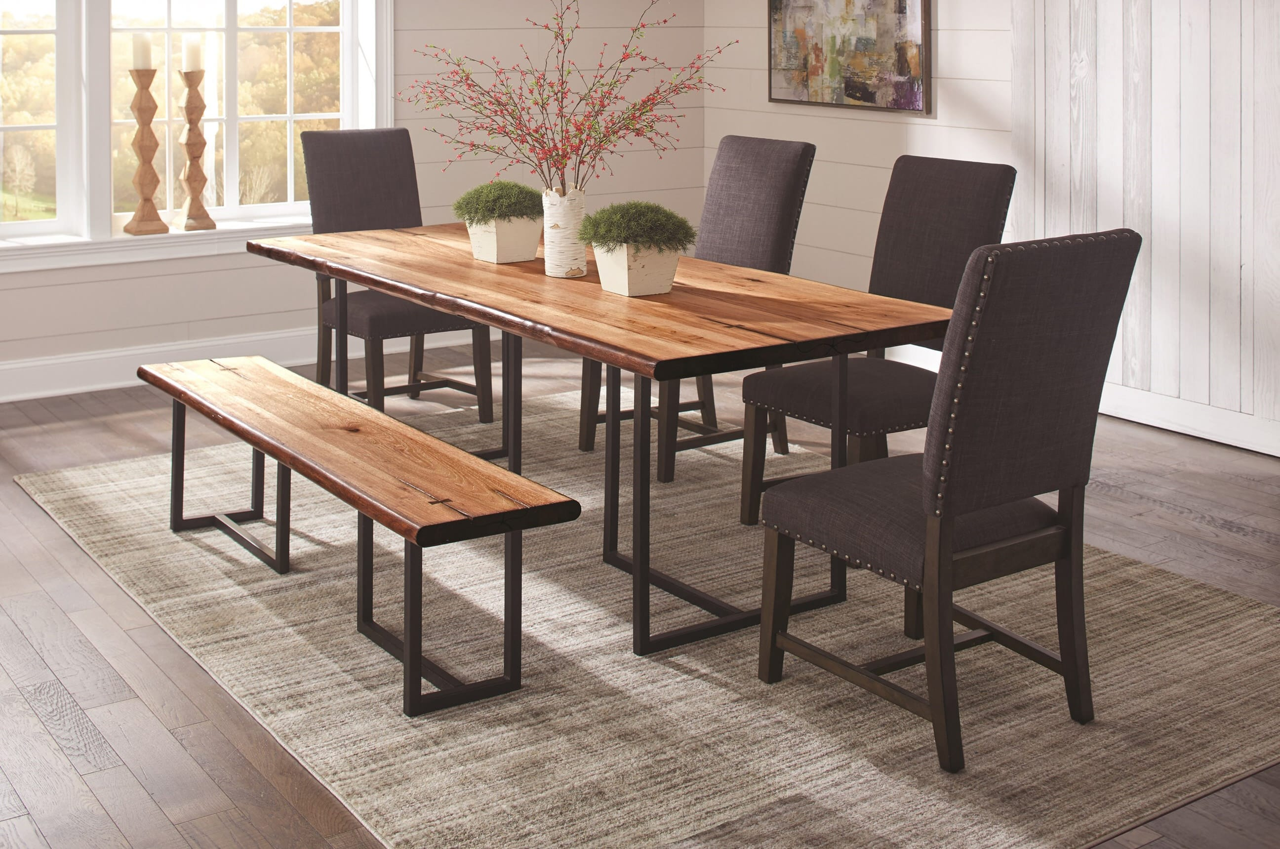 dp dining contemporary stanton set microfiber counter table black height com sets gray finish rich chair amazon