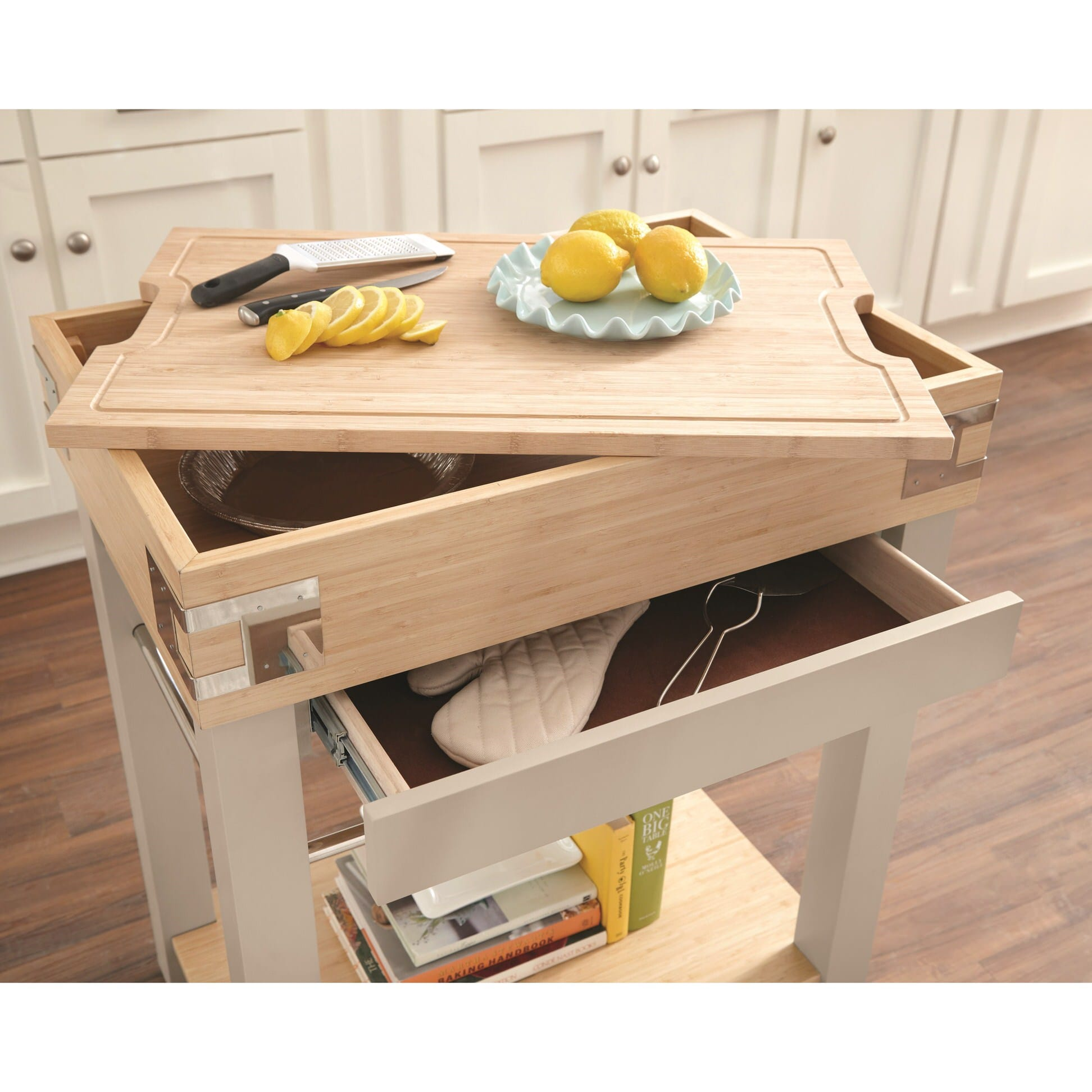 102988 Sand Kitchen Island w/ Removable Cutting Board by Scott Living