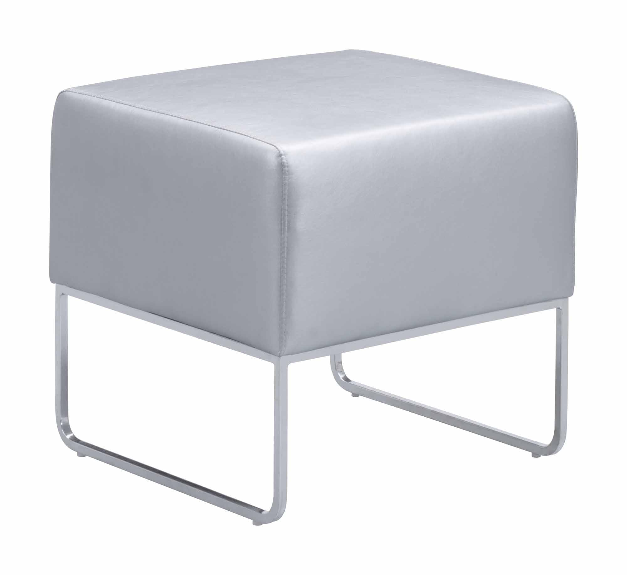 Magnificent Plush Ottoman Silver By Zuo Modern Short Links Chair Design For Home Short Linksinfo