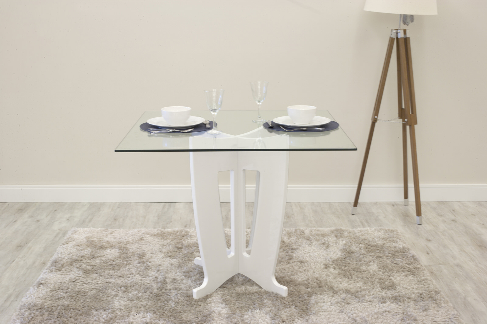 Jane White Gloss 39.32 Inch Tempered Glass Table Top By Manhattan Comfort