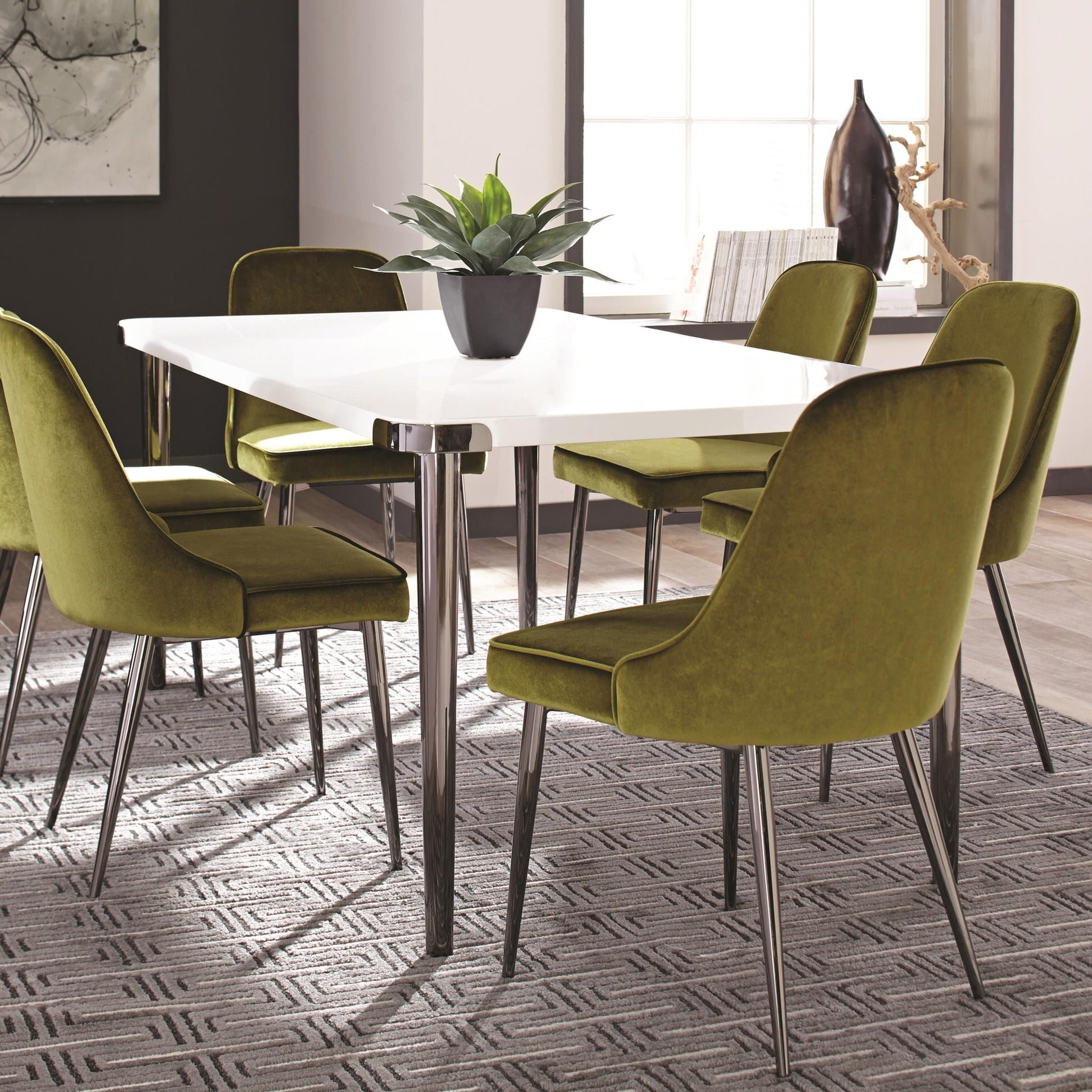 107951 Glossy White Dining Table By Scott Living