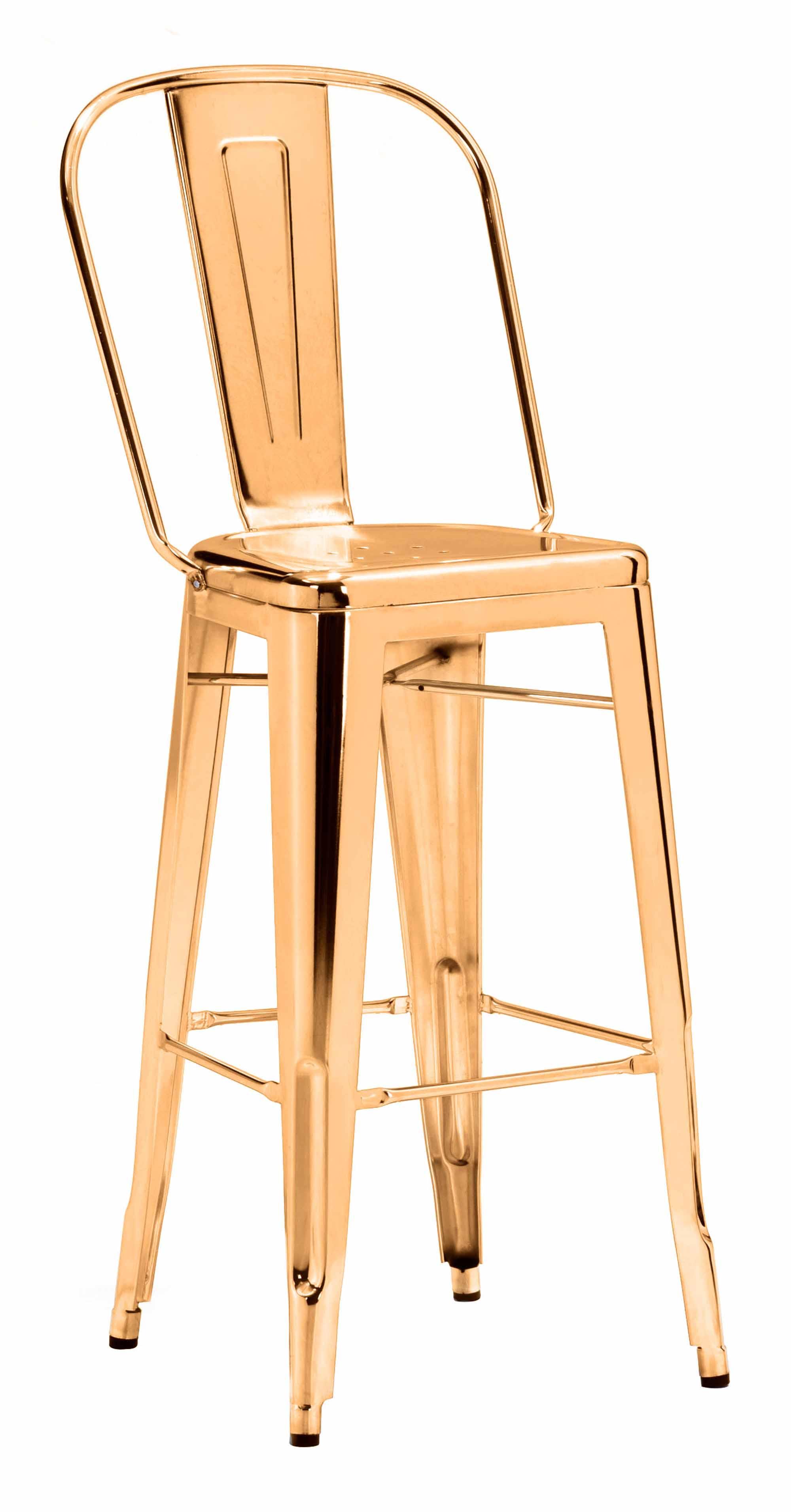 Elio Bar Chair Gold by Zuo Modern
