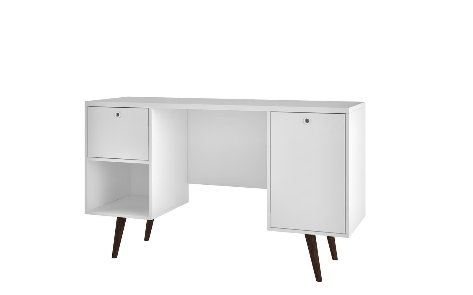 Edgar Mid Century 1 Drawer White Office Desk By Manhattan Comfort