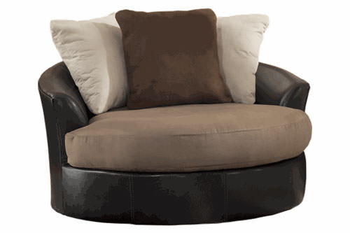 Masoli Mocha Oversized Swivel Accent Chair Signature