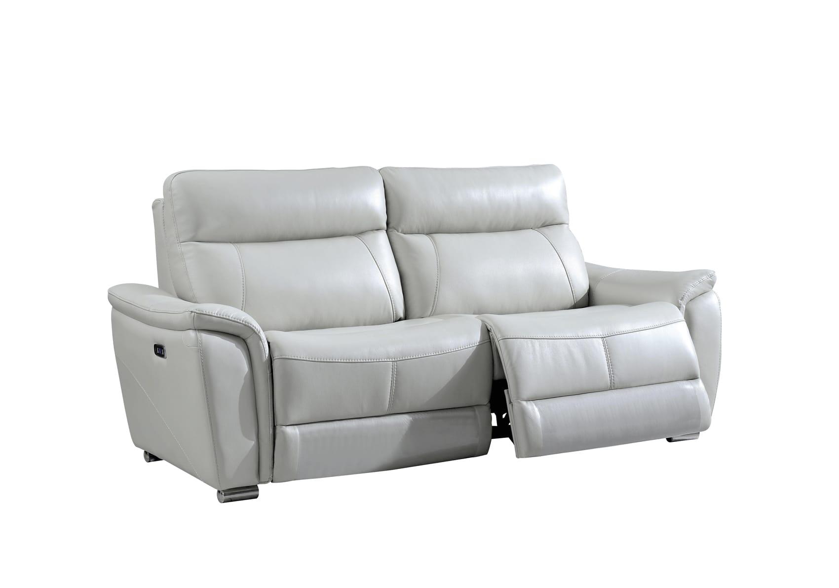 1705 Gray Leather Sofa W 2 Electric
