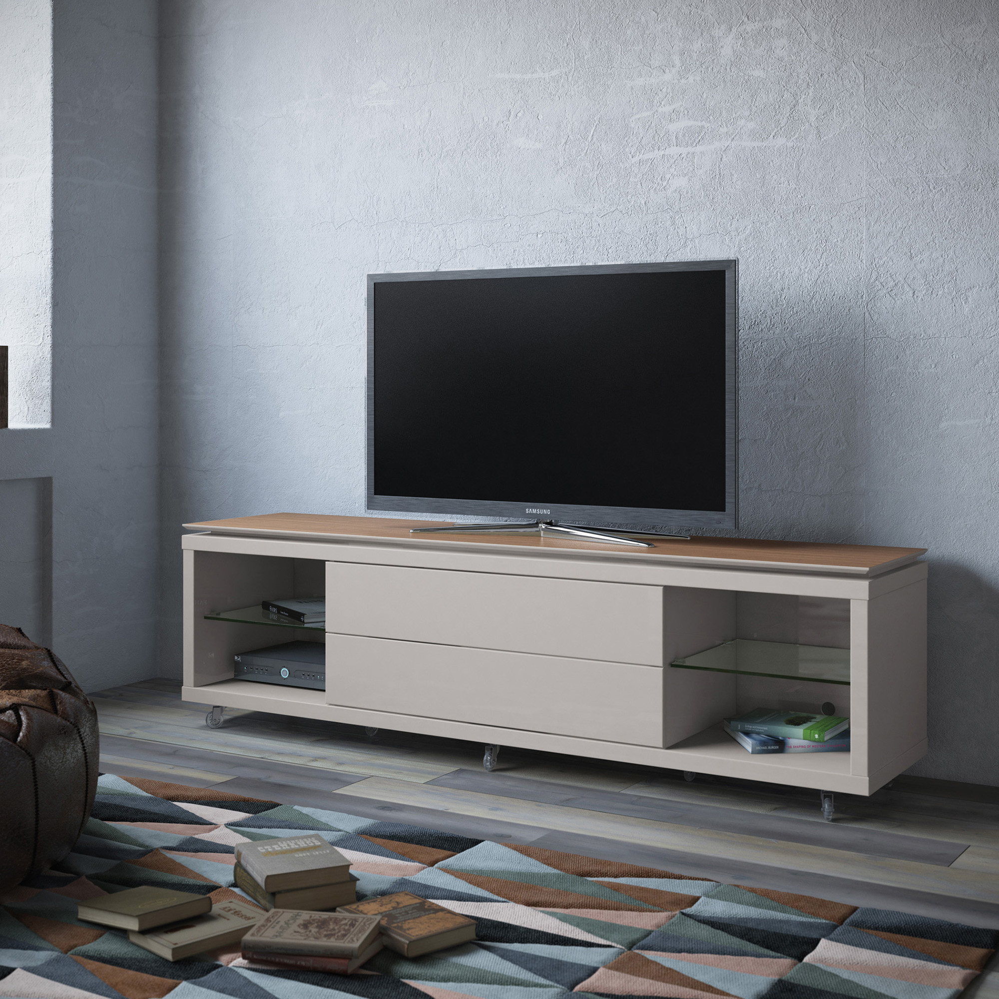 Lincoln Maple Cream & Off White TV Stand 1.9 w/Silicon Casters by ...