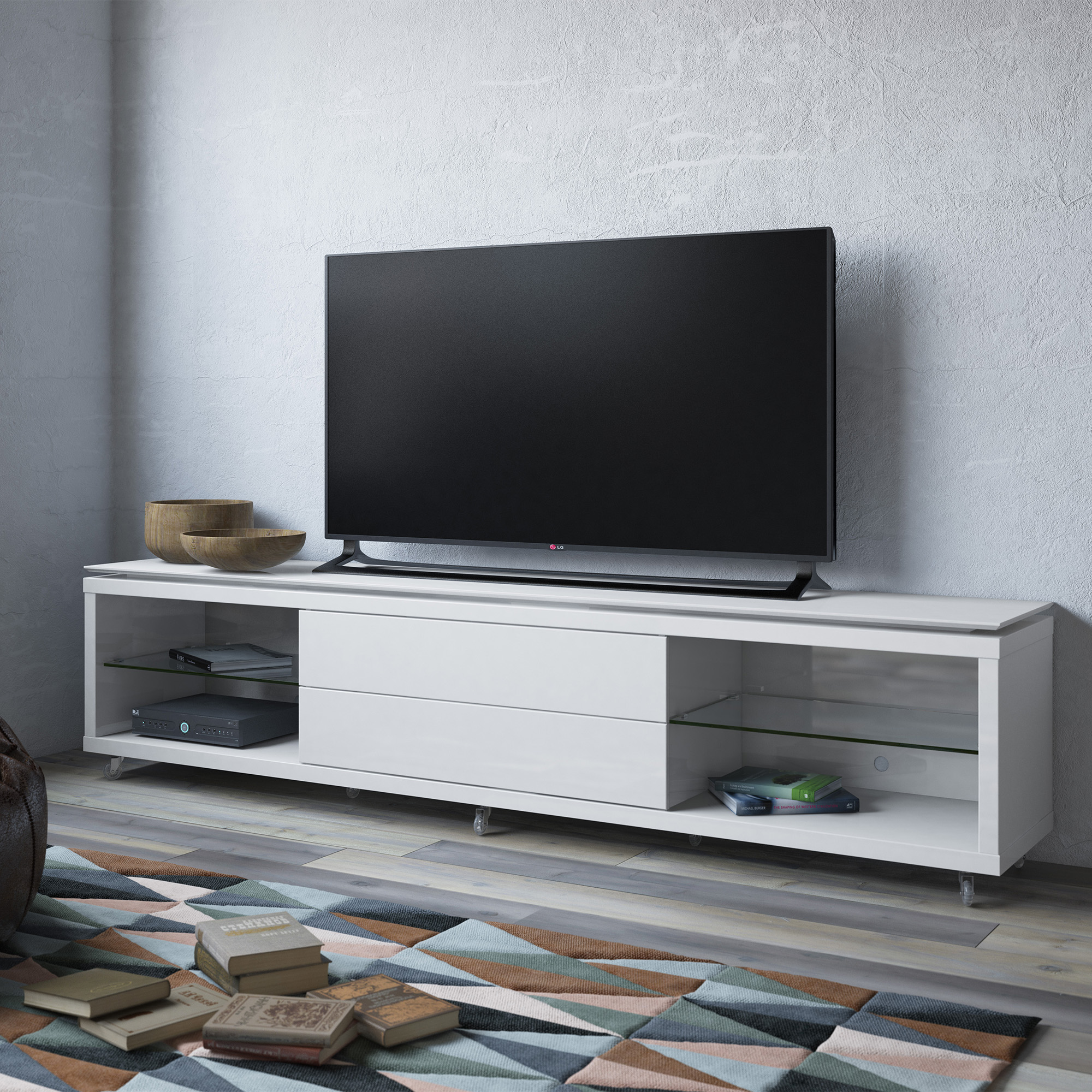 lincoln white gloss tv stand wsilicon casters  by manhattan  - lincoln white gloss tv stand wsilicon casters  by manhattan comfort