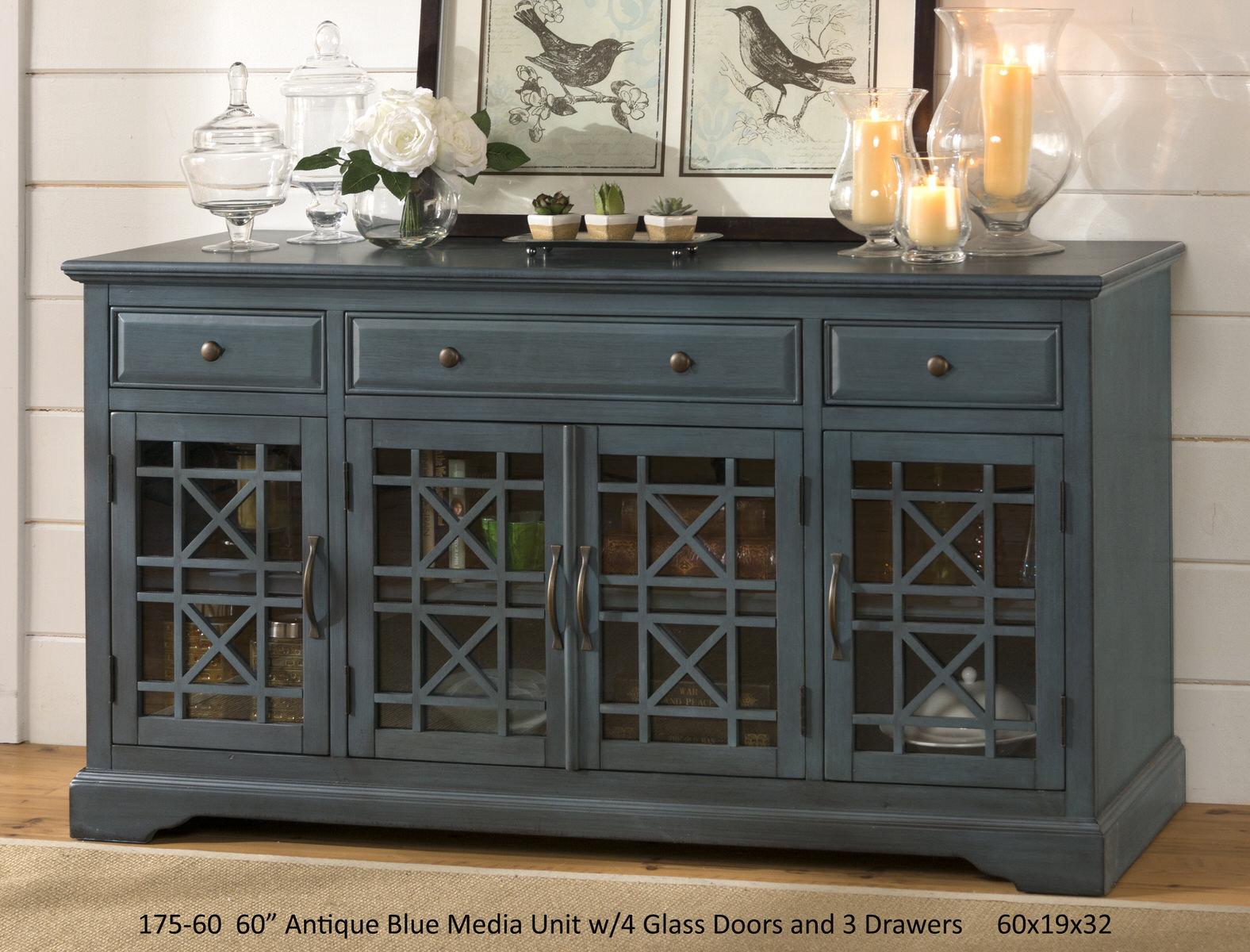 Craftsman Antique Blue 60 Inch Media Unit by Jofran Furniture