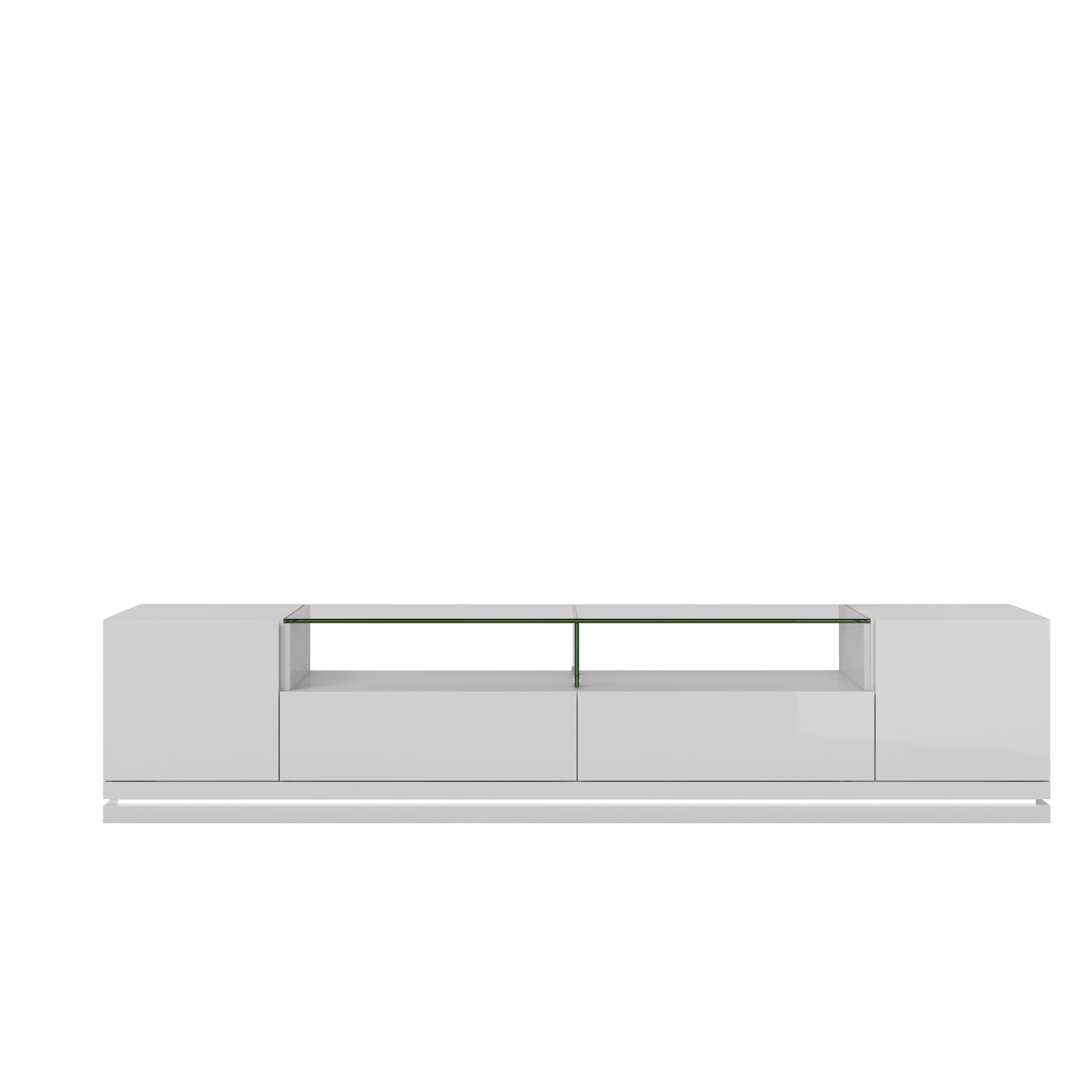 Vanderbilt White Gloss TV Stand w/LED Lights by Manhattan Comfort