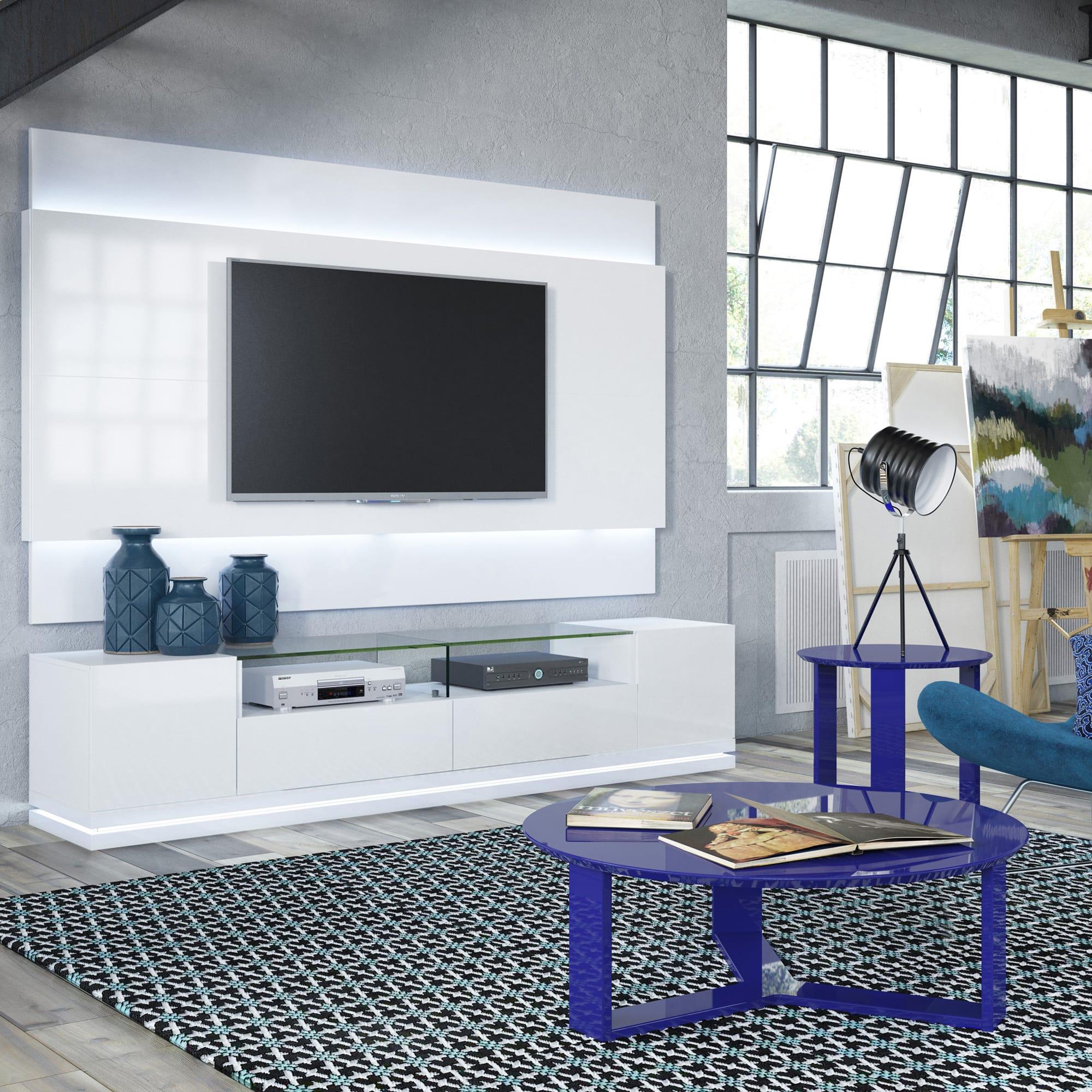 Vanderbilt White Gloss TV Stand & 2 2 Floating Wall TV Panel w LED