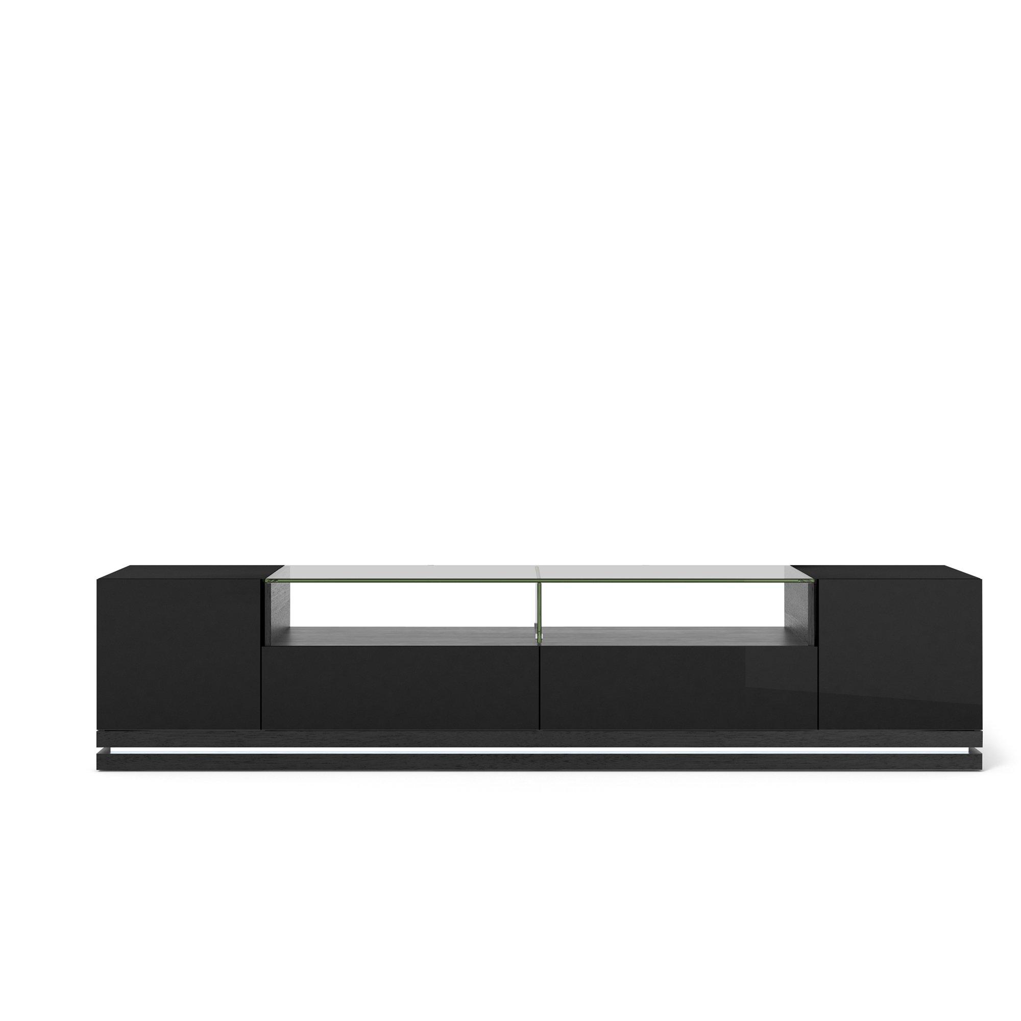Vanderbilt Black Gloss Amp Black Matte Tv Stand W Led Lights
