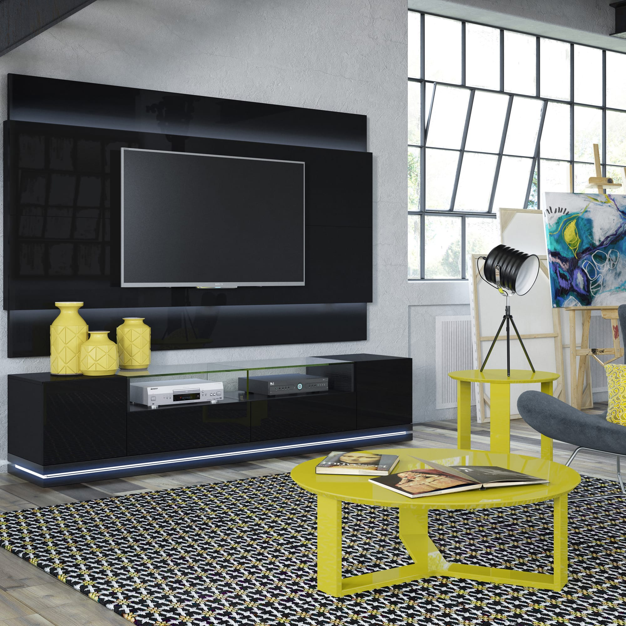 Vanderbilt Black Gloss Black Matte TV Stand wLED Lights by
