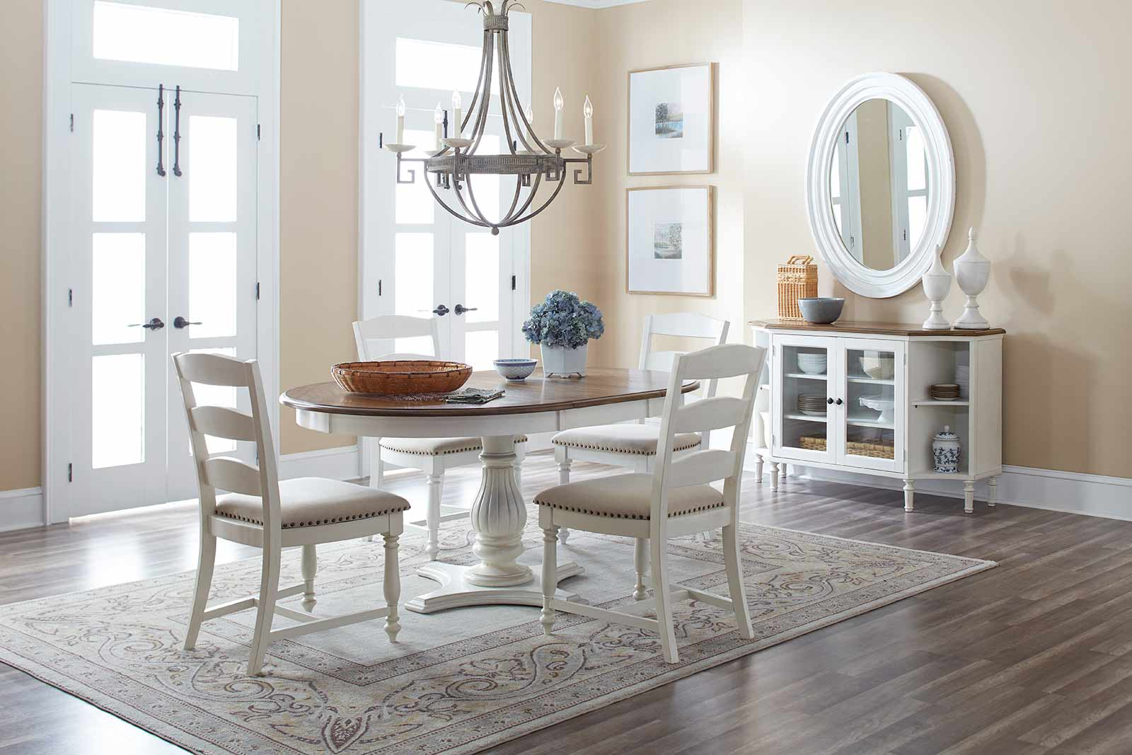Castle Hill Antique White Oak Round To Oval Dining Table By Jofran Furniture