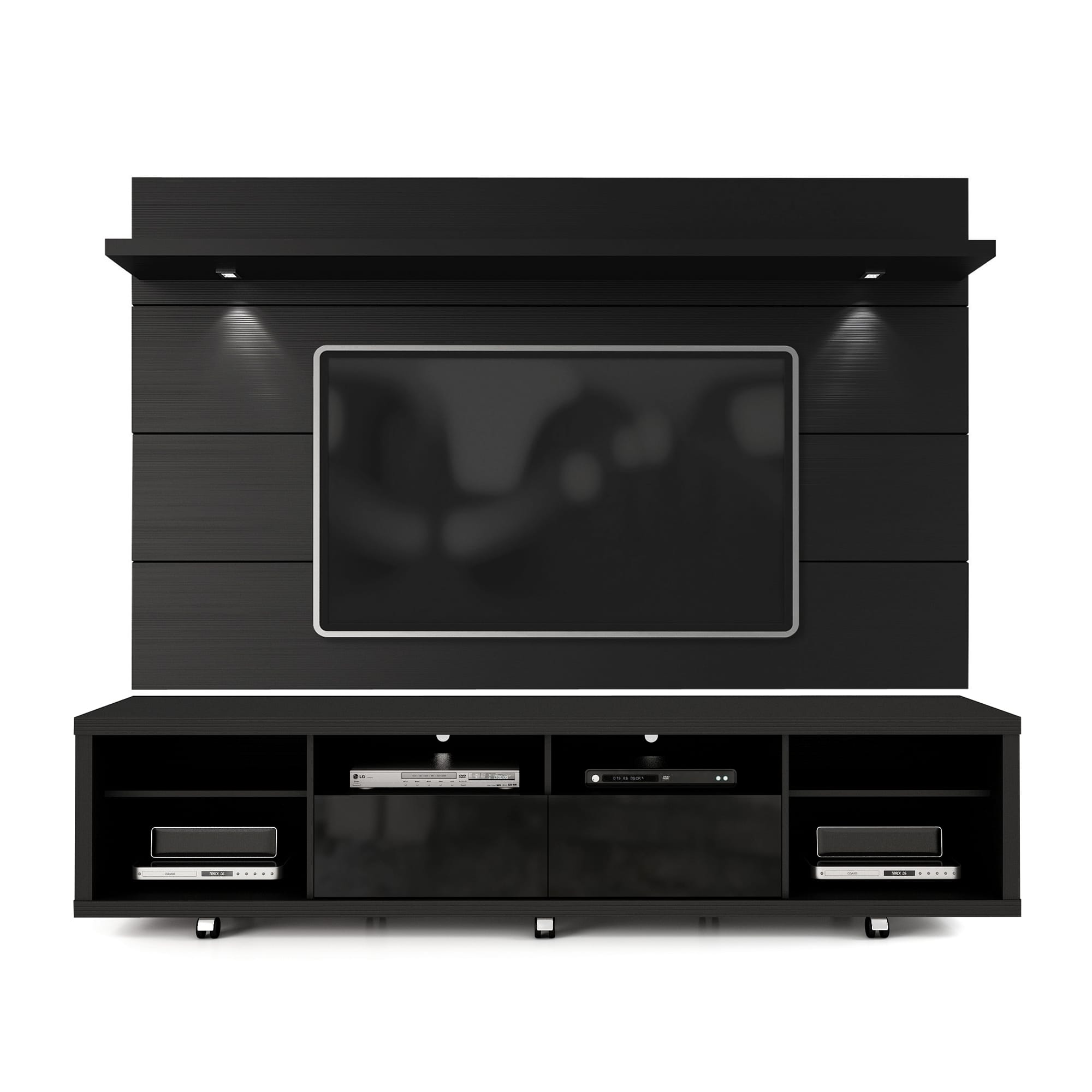Cabrini Black TV Stand amp Floating Wall Panel W22 LED