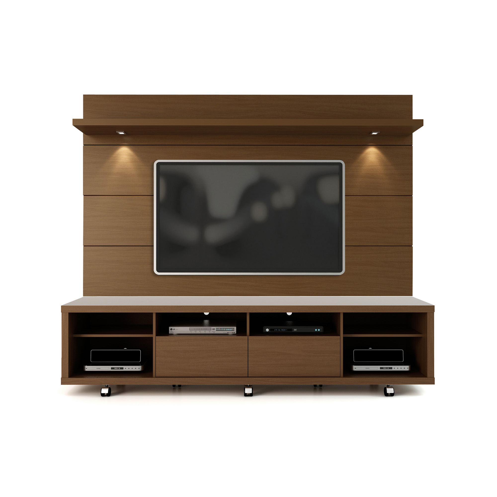 check out b8cdb 186d9 Cabrini Nut Brown TV Stand & Floating Wall TV Panel w/2.2 LED Lights by  Manhattan Comfort