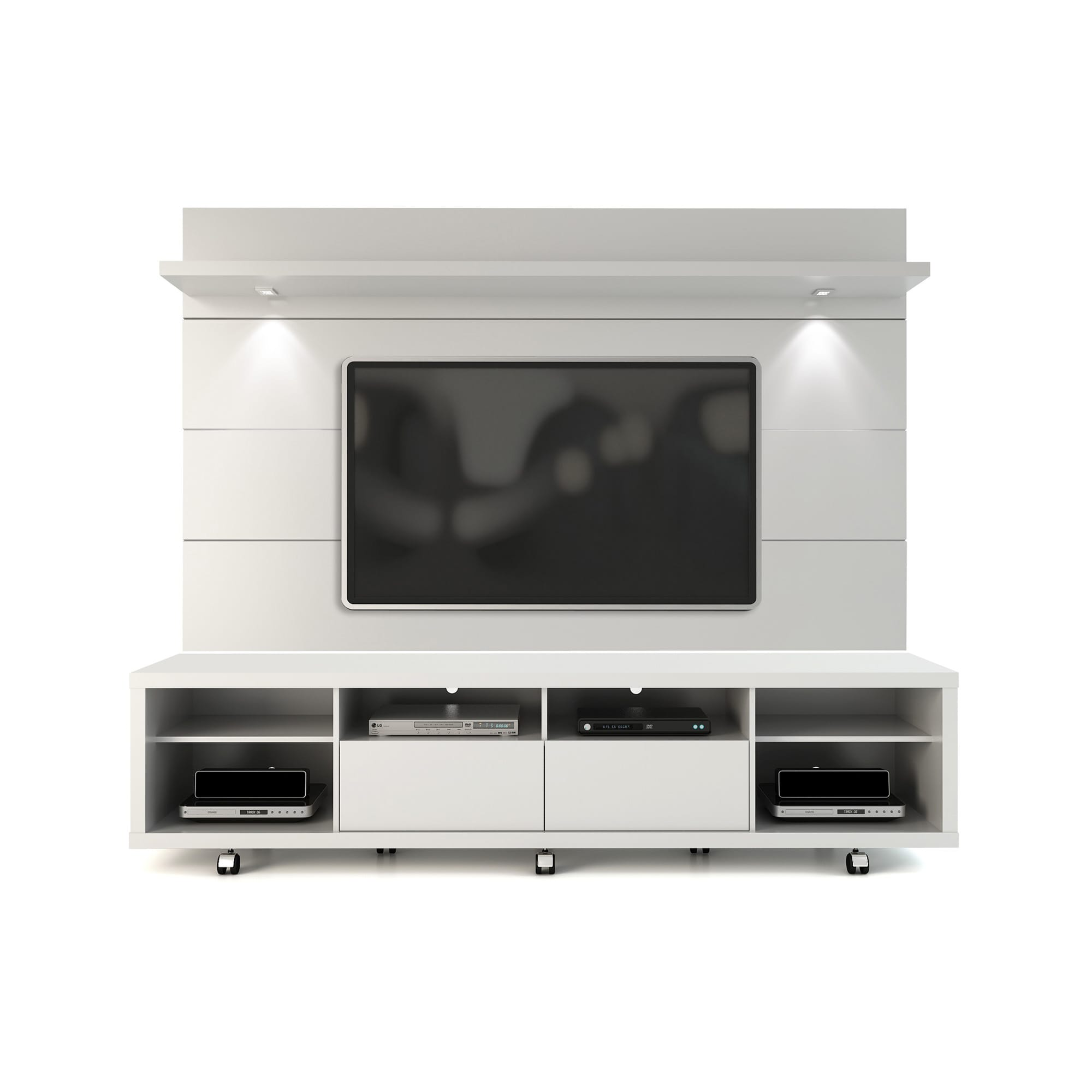 cabrini white gloss tv stand  floating wall tv panel w led  - cabrini white gloss tv stand  floating wall tv panel w led lights bymanhattan comfort