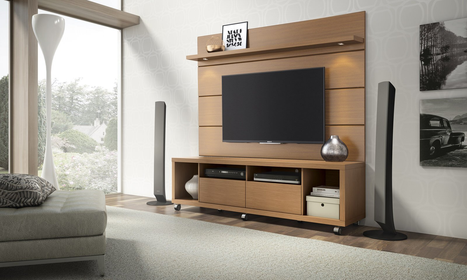 Cabrini Maple Cream & Off White TV Stand and Floating Wall TV Panel ...