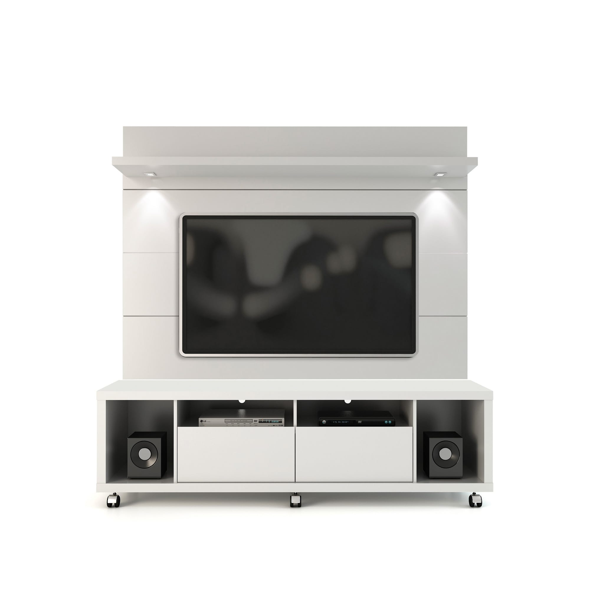 online store 52458 85293 Cabrini White Gloss TV Stand & Floating Wall TV Panel w/1.8 LED Lights by  Manhattan Comfort