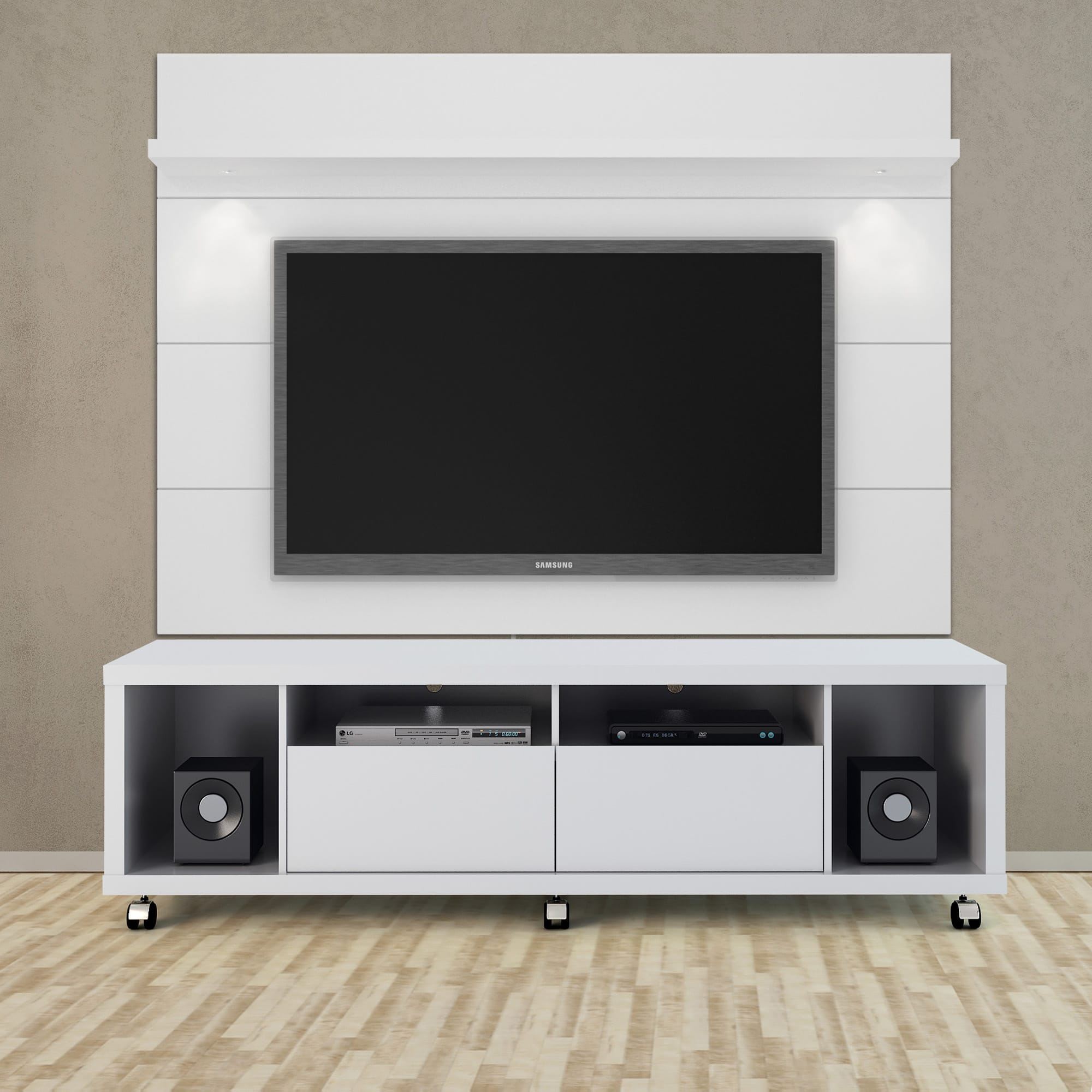 Cabrini White Gloss Tv Stand Floating Wall Panel W 1 8 Led Lights By Manhattan Comfort