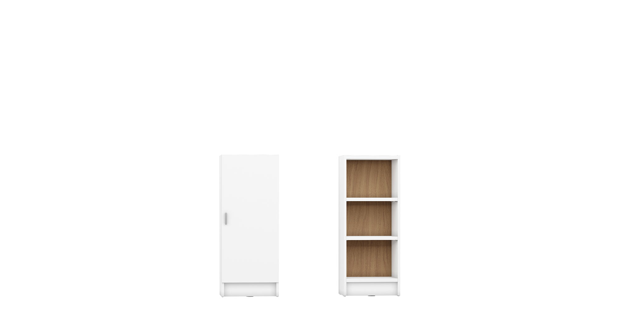 Greenwich White Matte Maple Cream 3 Shelf Narrow Tall 2 0 Bookcase W Doors By Manhattan Comfort