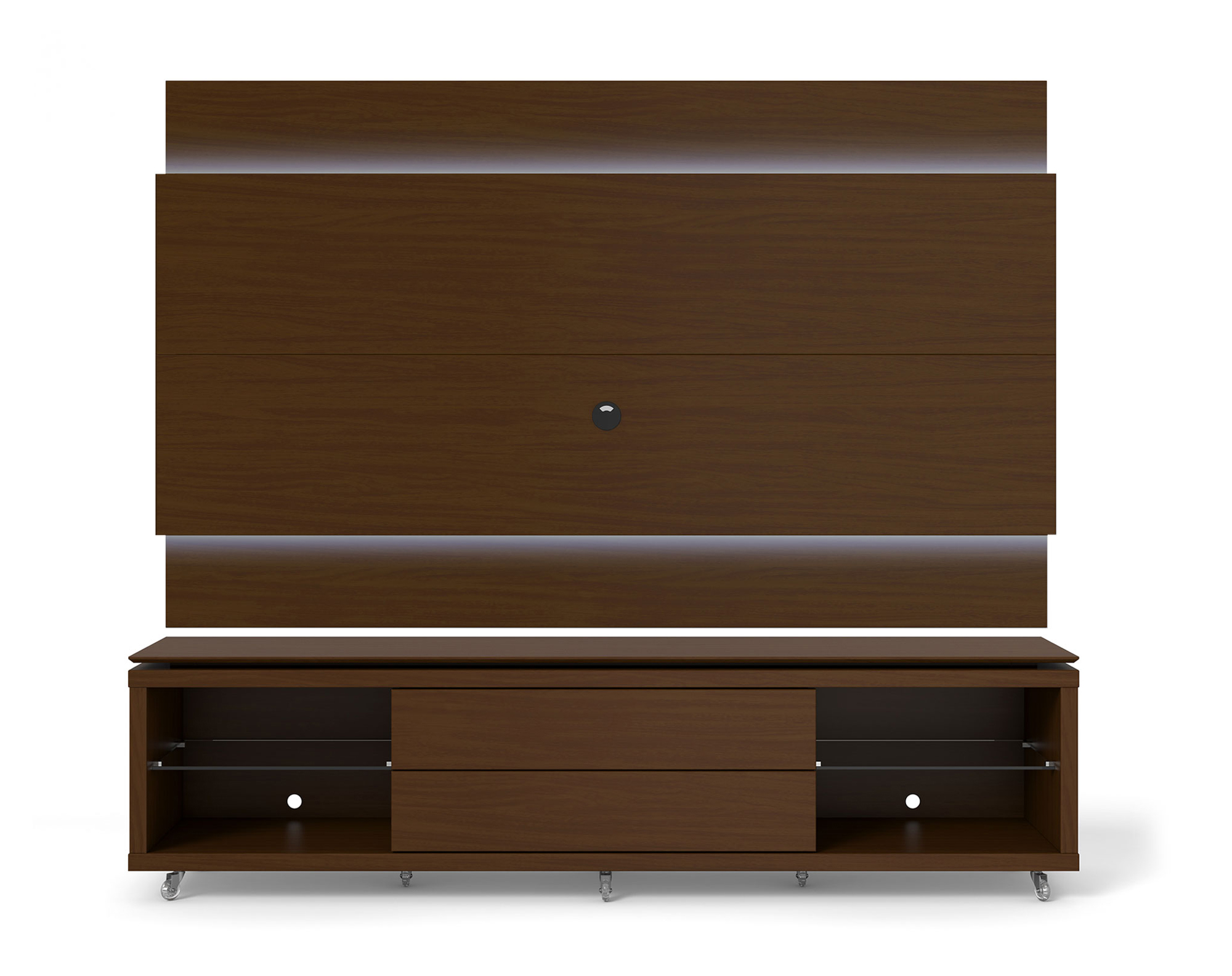 lincoln nut brown tv stand w silicon casters floating wall tv panel w 1 9 led lights by. Black Bedroom Furniture Sets. Home Design Ideas