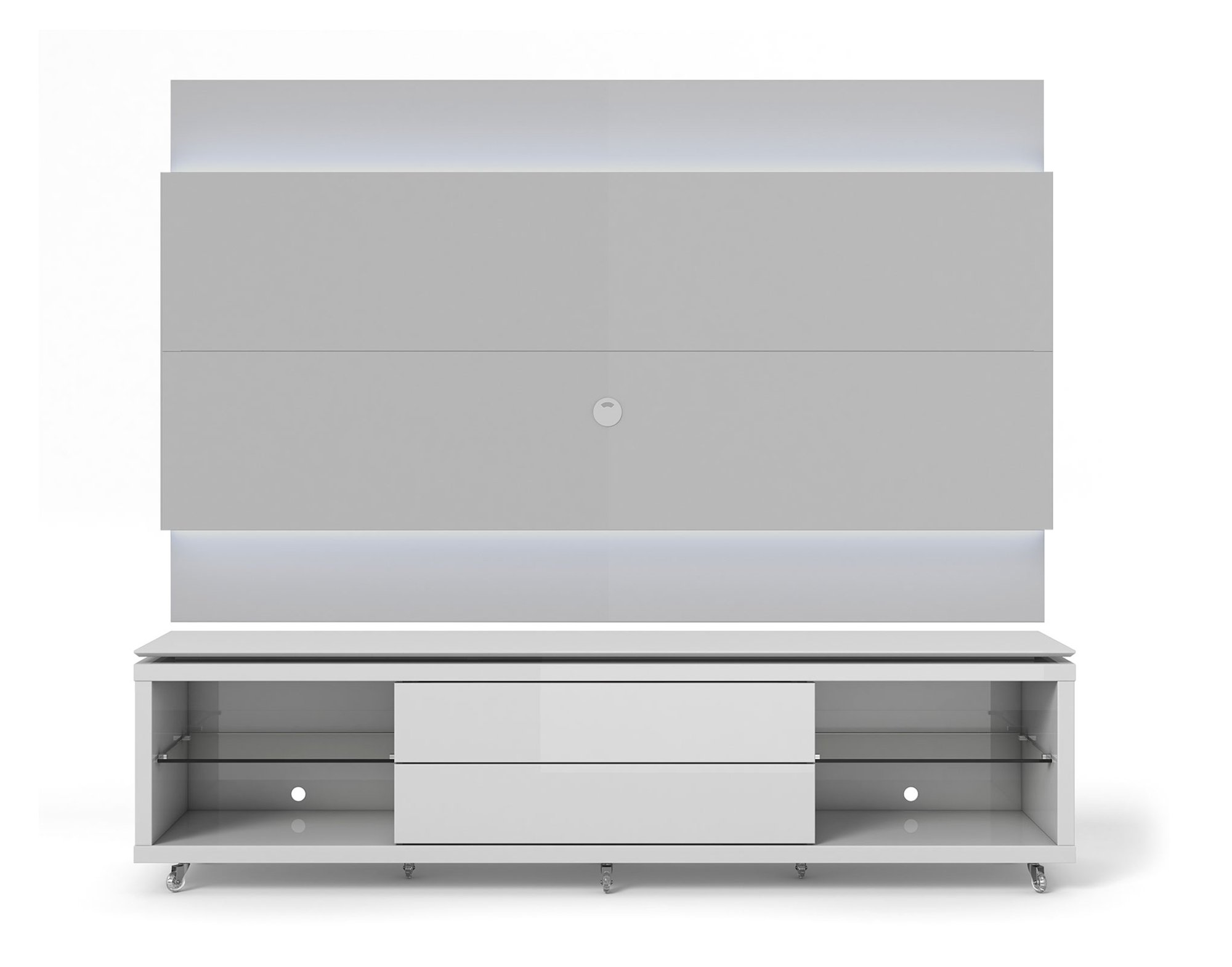 lincoln white gloss tv stand w silicon casters floating wall tv panel w 1 9 led lights by. Black Bedroom Furniture Sets. Home Design Ideas