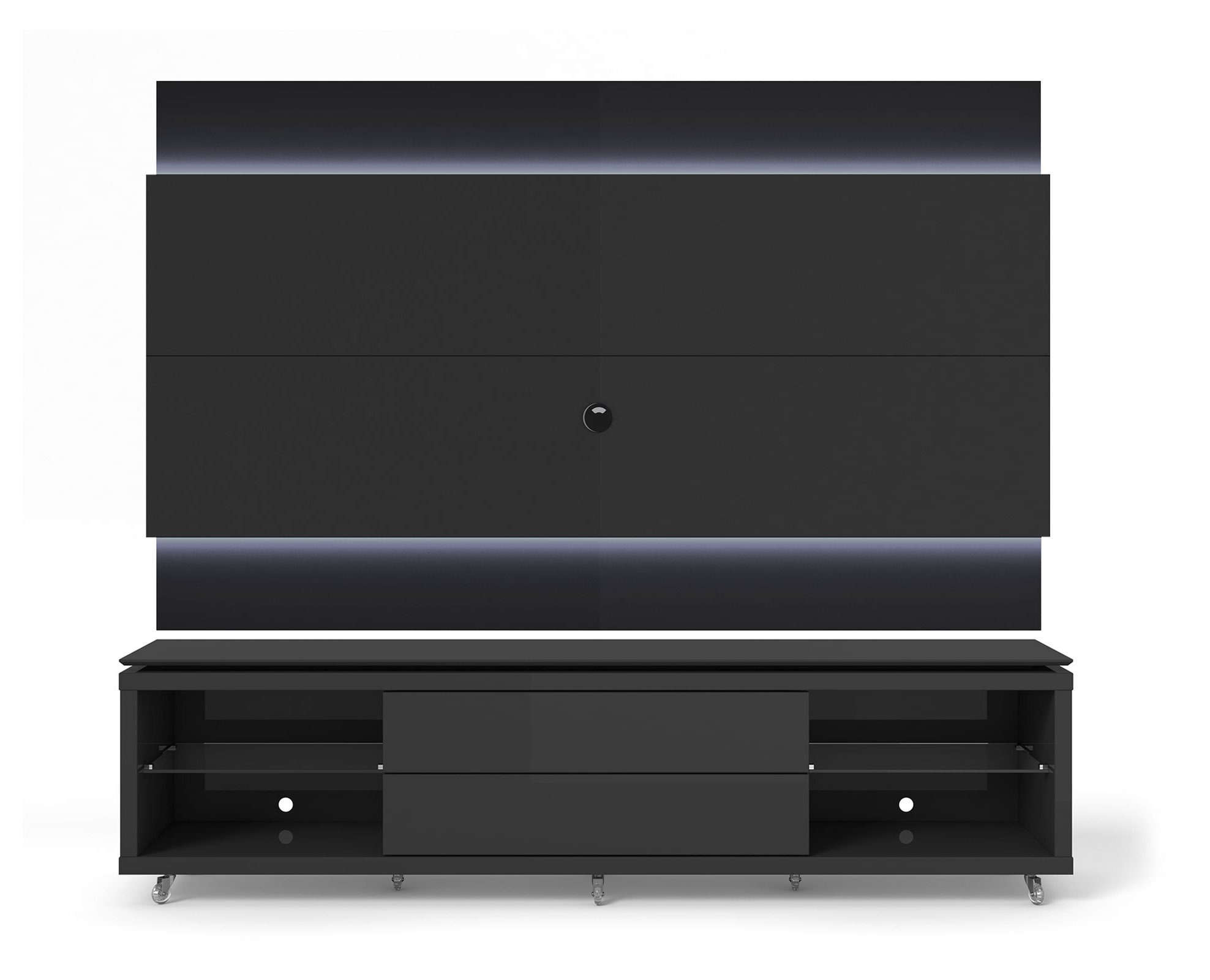 lincoln black gloss black matte tv stand w silicon casters floating wall tv panel w 1 9 led. Black Bedroom Furniture Sets. Home Design Ideas