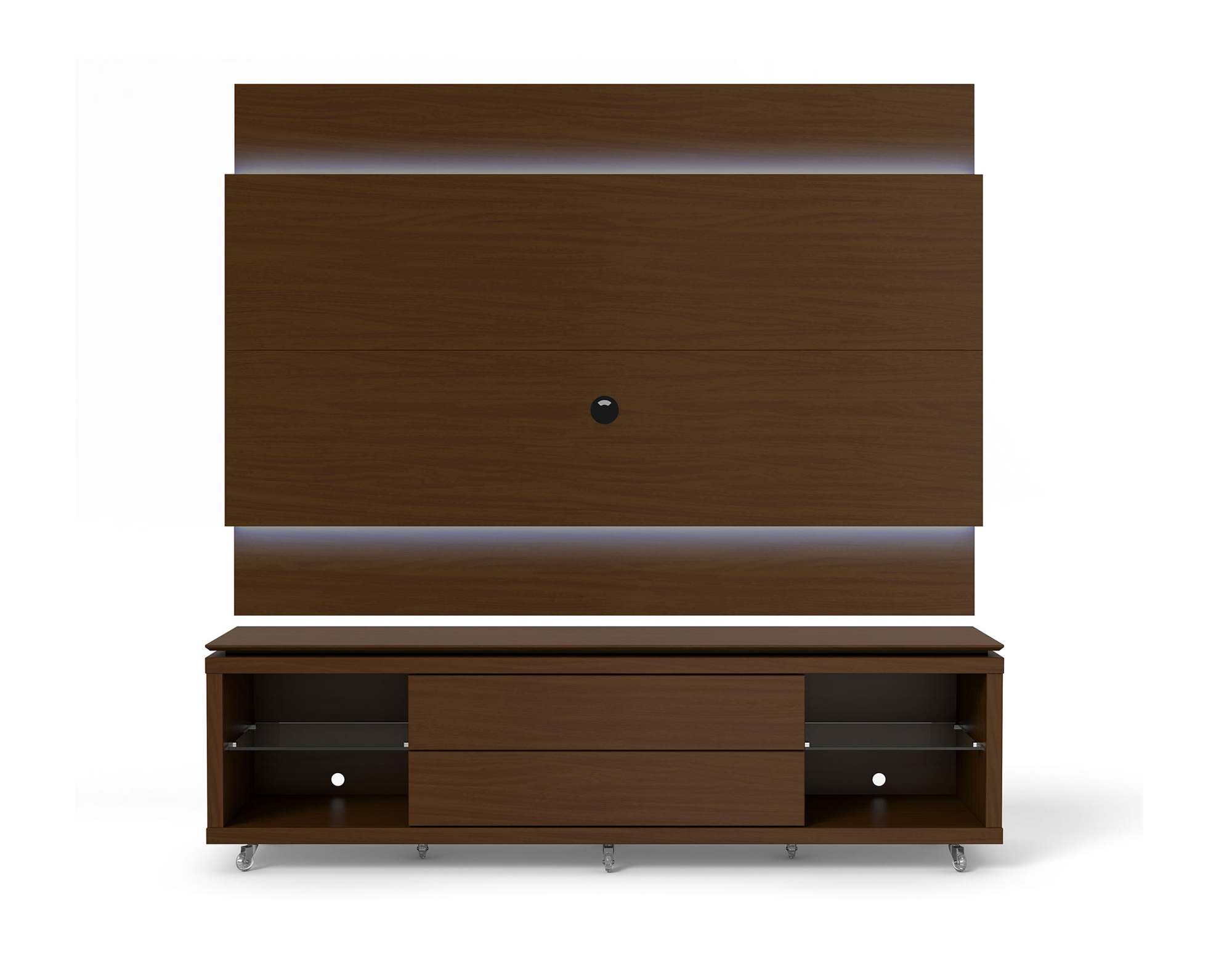 lincoln nut brown tv stand w silicon casters floating wall tv panel w 2 2 led lights by. Black Bedroom Furniture Sets. Home Design Ideas