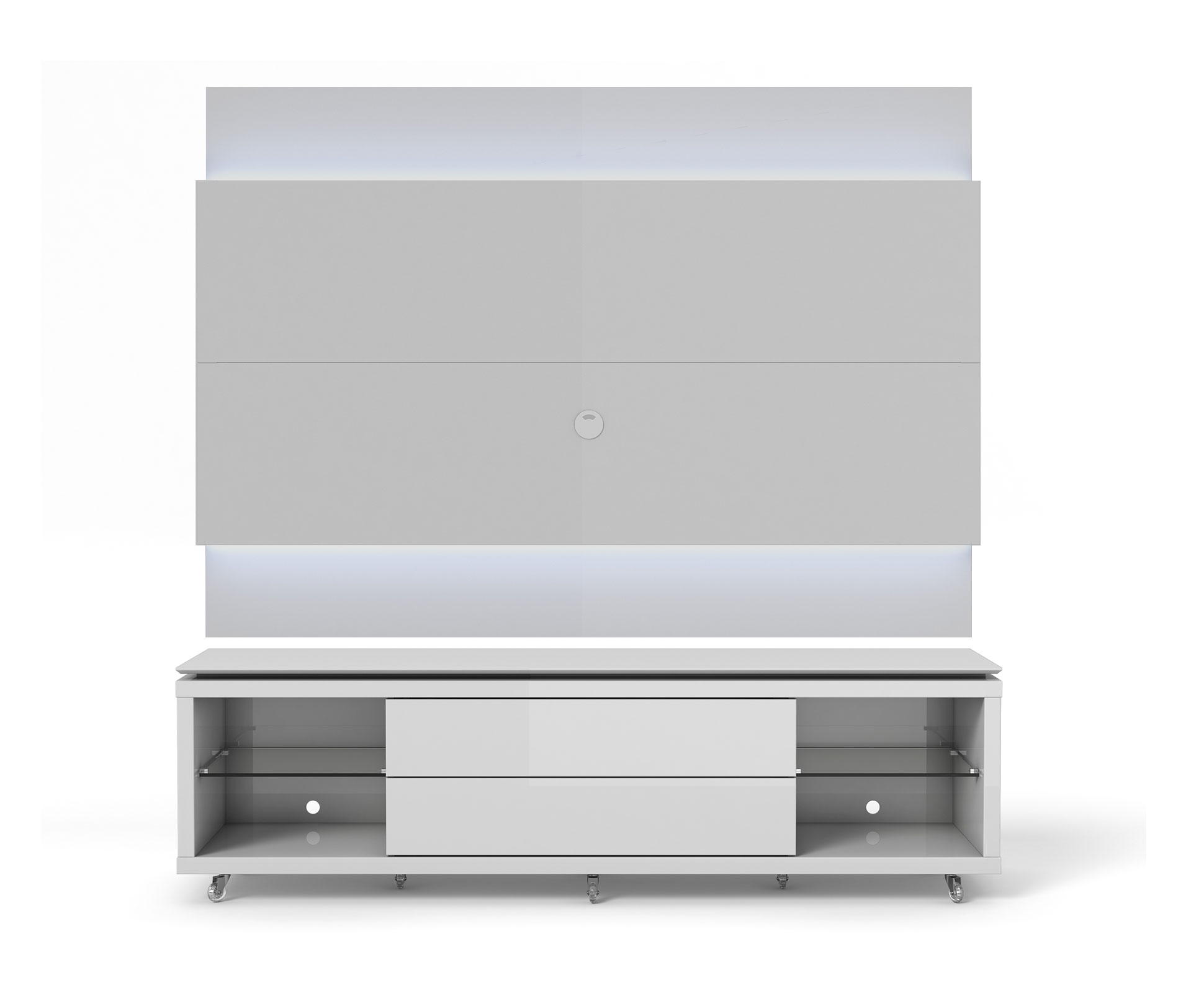 Lincoln White Gloss Tv Stand W Silicon Casters Amp Floating