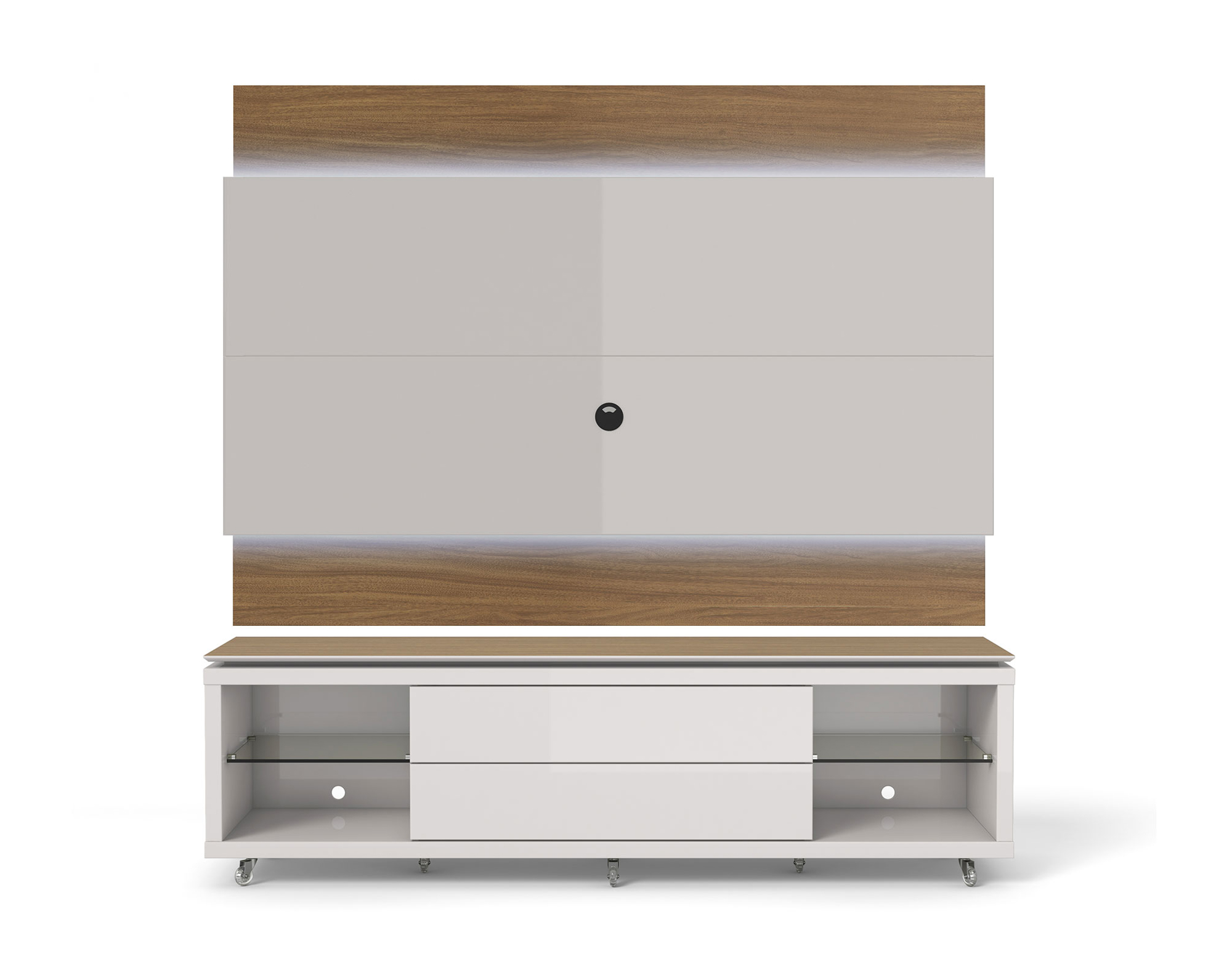 lincoln nature off white tv stand w silicon casters floating wall tv panel w 2 2 led lights. Black Bedroom Furniture Sets. Home Design Ideas