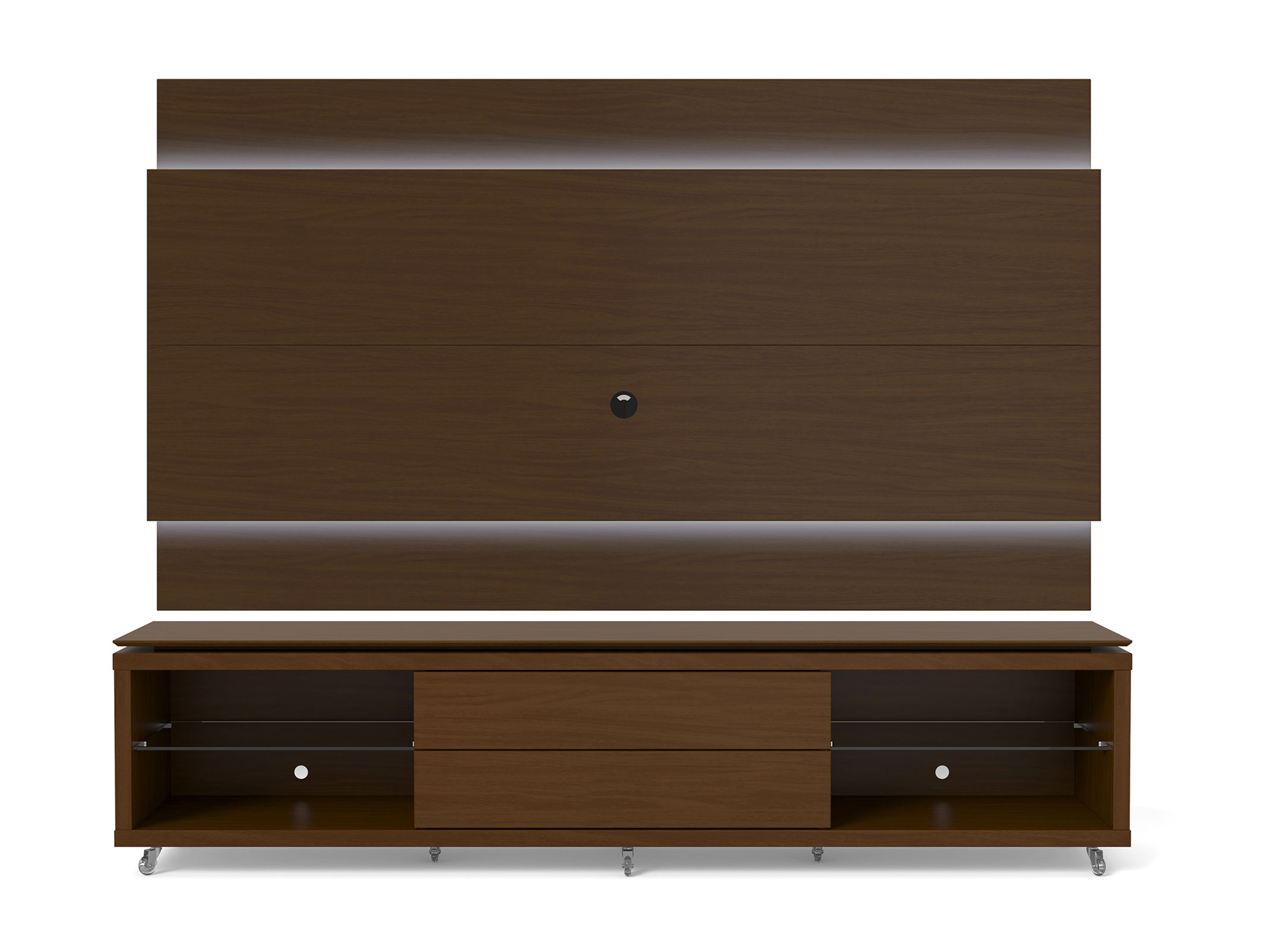 lincoln nut brown tv stand w silicon casters floating wall tv panel w 2 4 led lights by. Black Bedroom Furniture Sets. Home Design Ideas