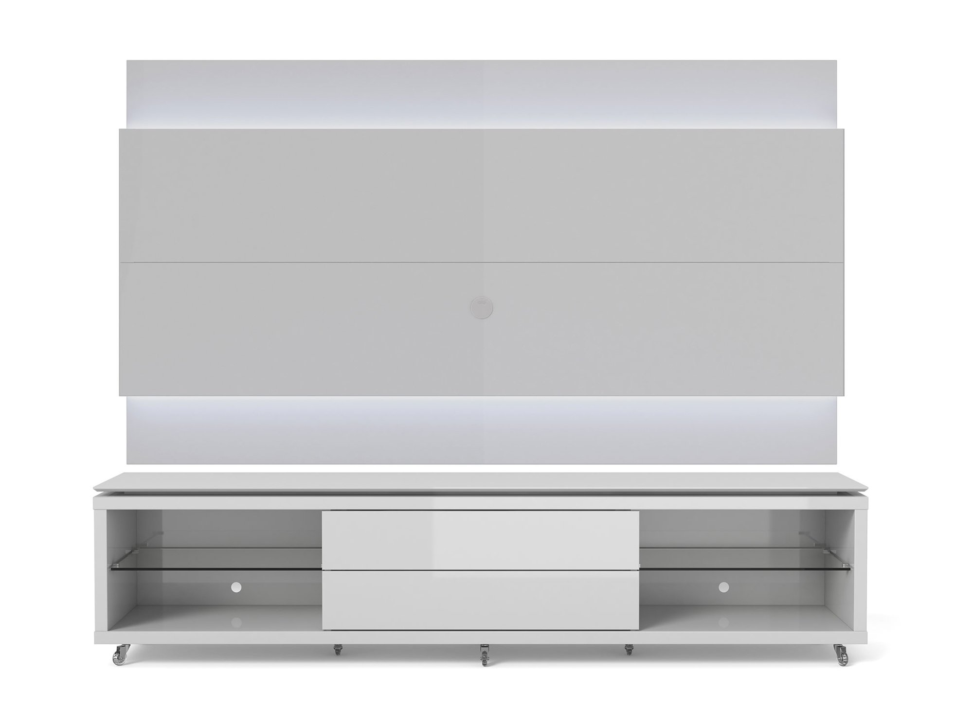 lincoln white gloss tv stand w silicon casters floating wall tv panel w 2 4 led lights by. Black Bedroom Furniture Sets. Home Design Ideas