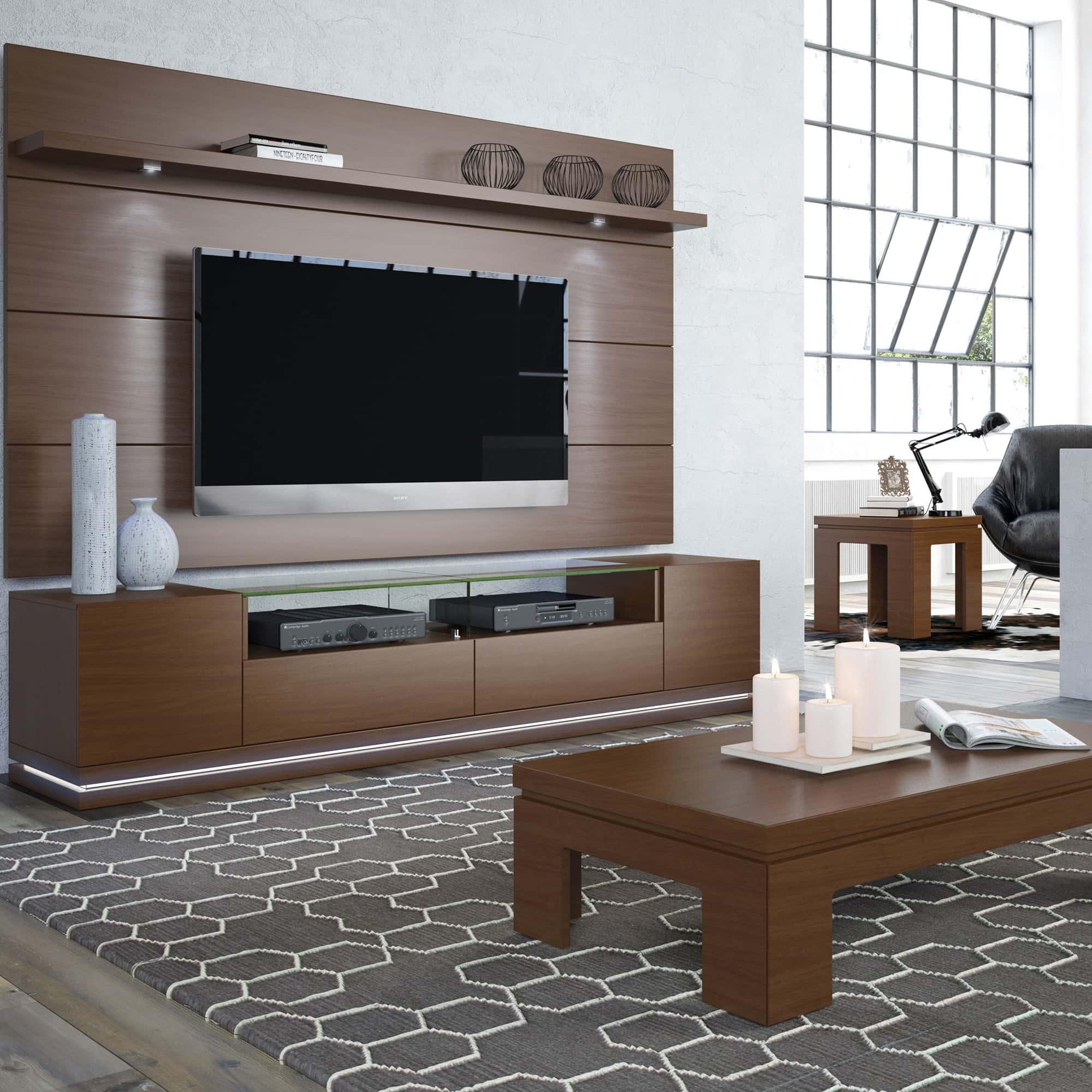 Vanderbilt Nut Brown TV Stand U0026 Cabrini 2.2 Floating Wall TV Panel W/LED  Lights By Manhattan Comfort