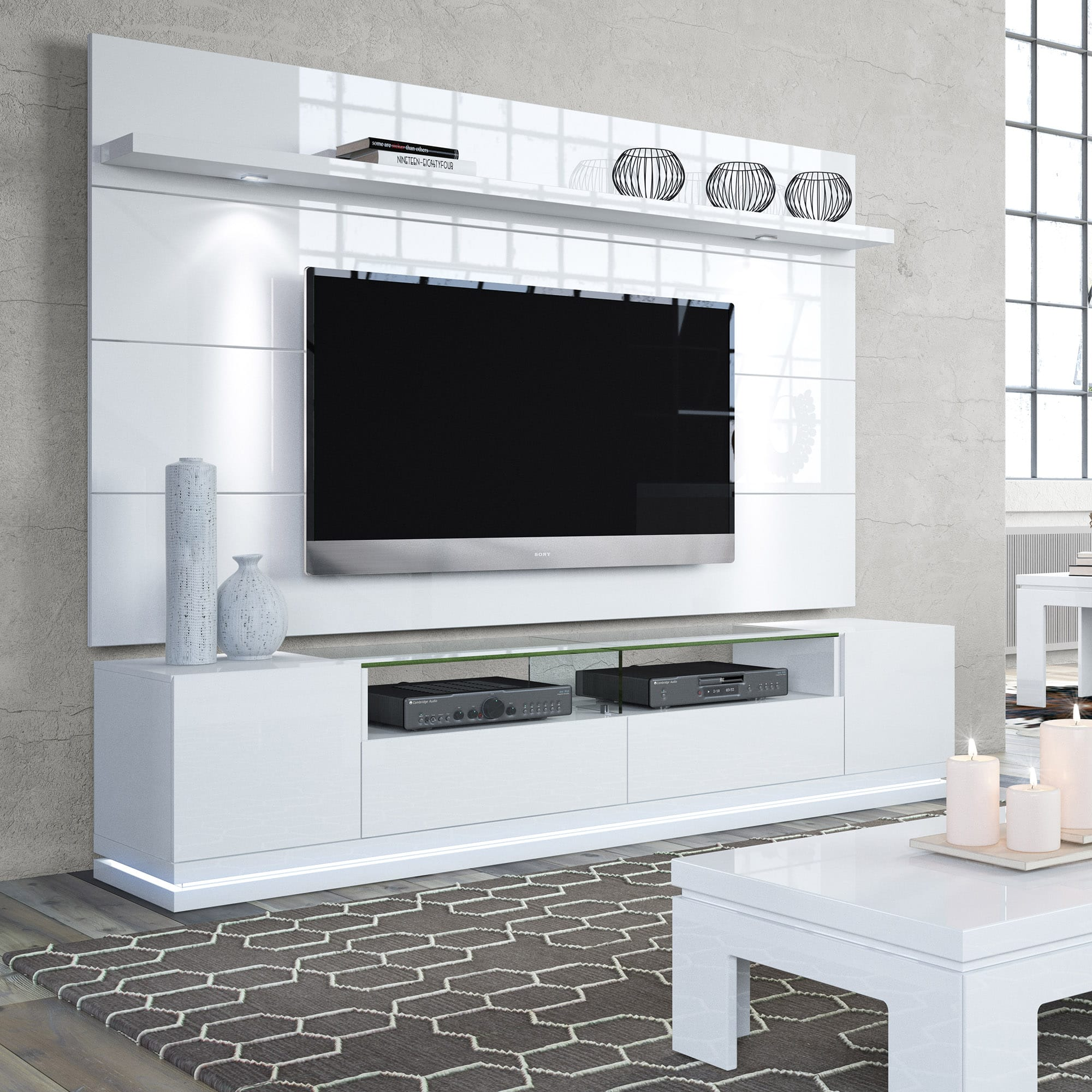vanderbilt white gloss tv stand cabrini 2 2 floating wall tv panel w led lights by manhattan. Black Bedroom Furniture Sets. Home Design Ideas