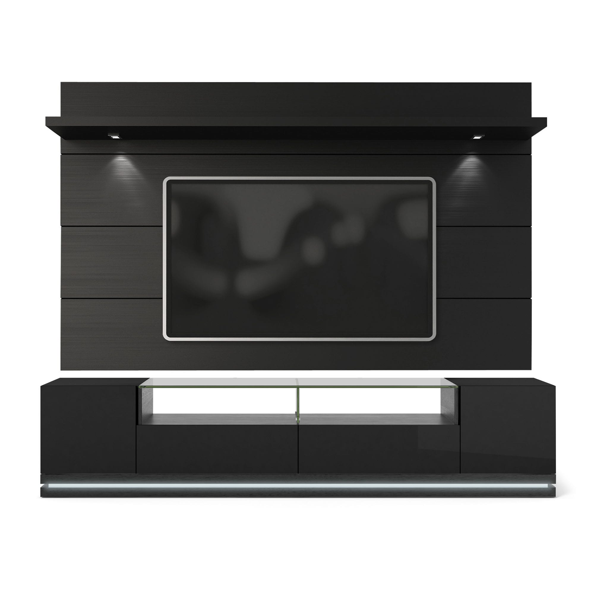 vanderbilt black gloss black matte tv stand cabrini 2 2 floating wall tv panel w led lights. Black Bedroom Furniture Sets. Home Design Ideas