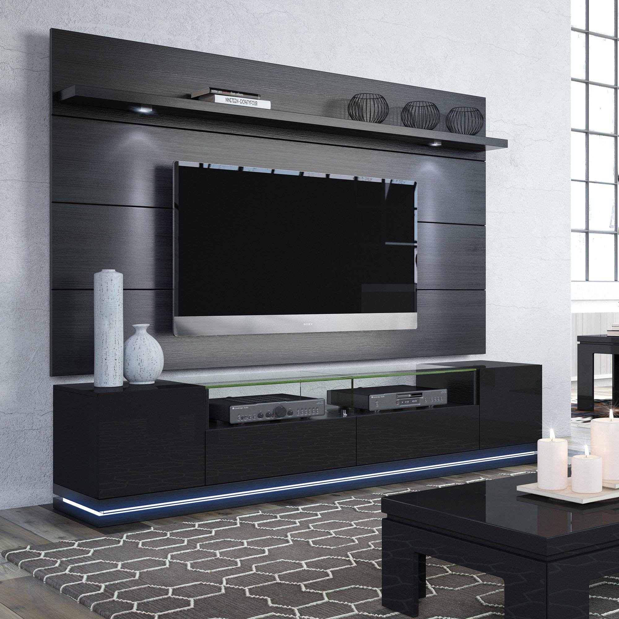 vanderbilt black gloss black matte tv stand cabrini 2 2 floating wall tv panel w led lights. Black Bedroom Furniture Sets. Home Design Ideas