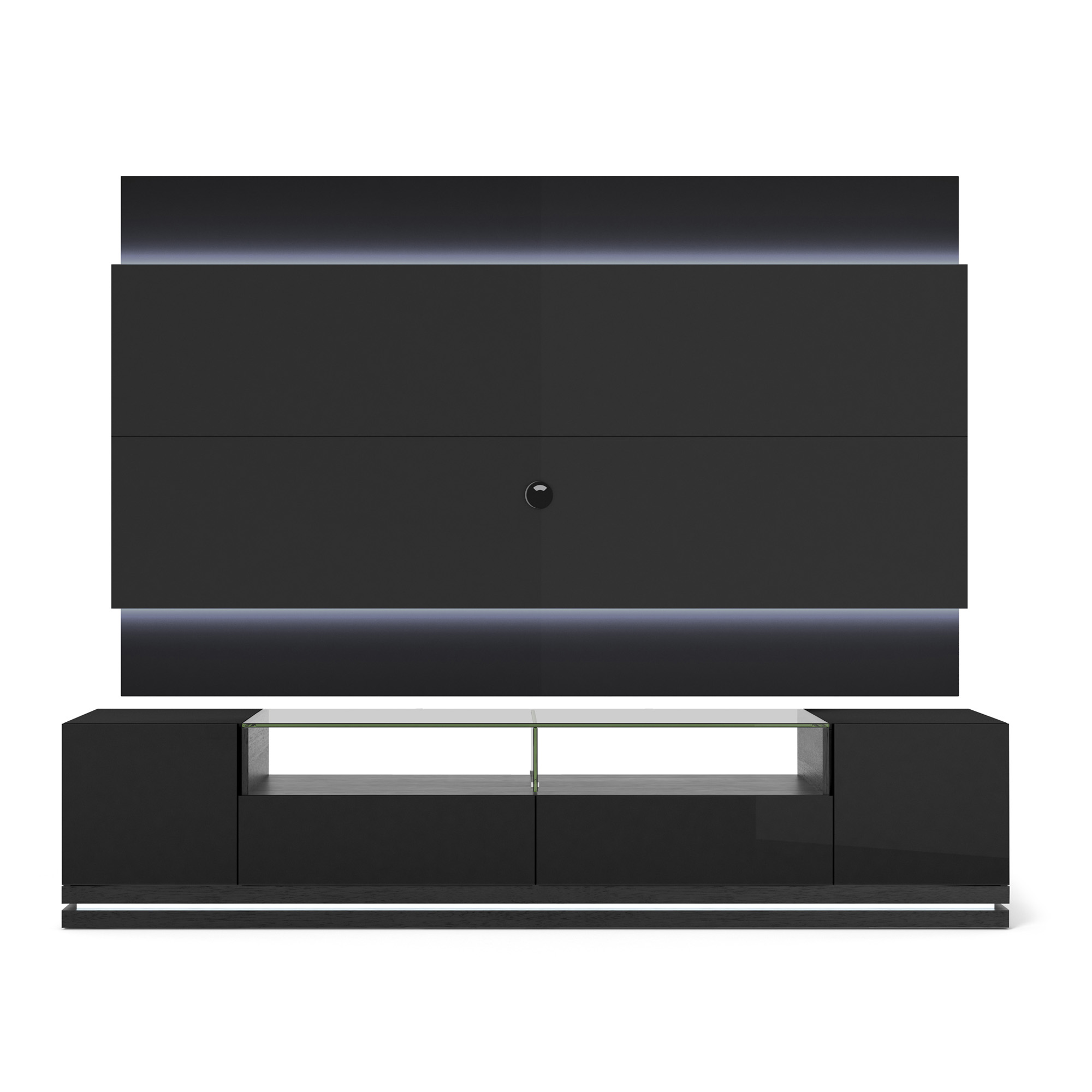 vanderbilt black gloss black matte tv stand 2 2 floating wall tv panel w led lights by. Black Bedroom Furniture Sets. Home Design Ideas